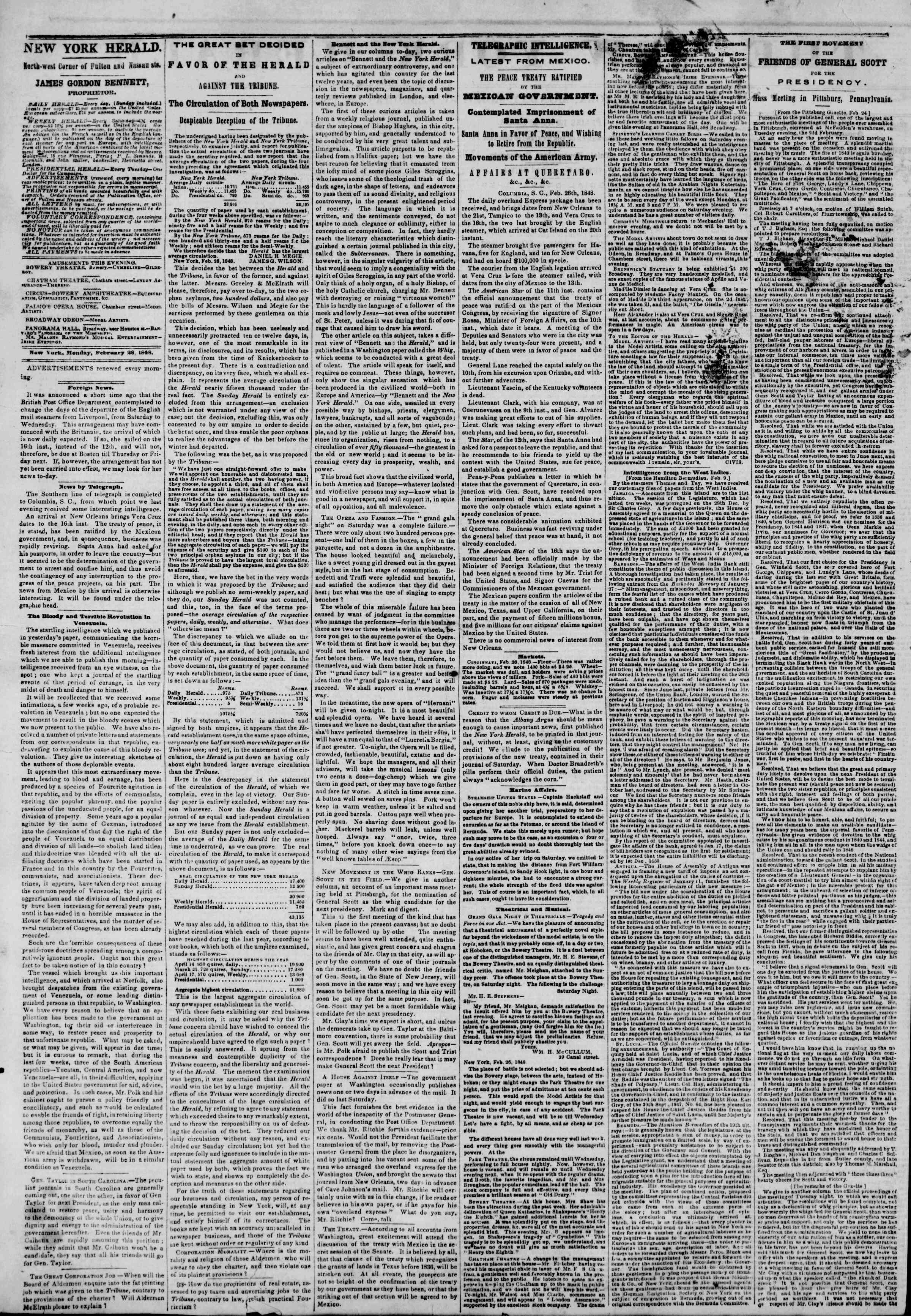 Newspaper of The New York Herald dated February 28, 1848 Page 2