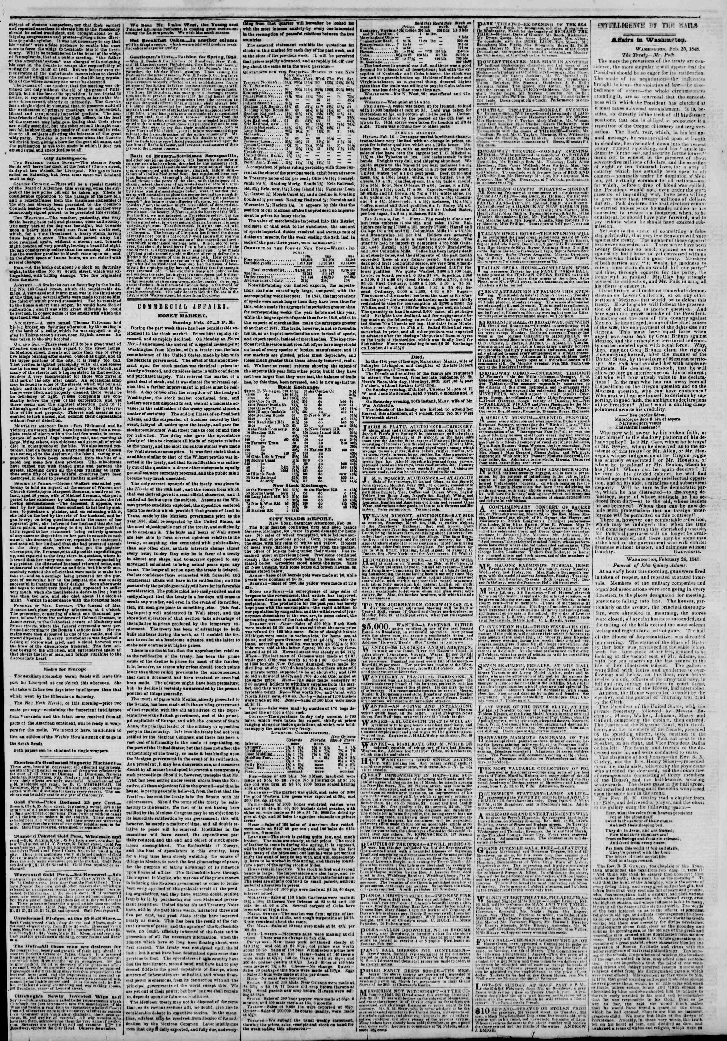 Newspaper of The New York Herald dated February 28, 1848 Page 3
