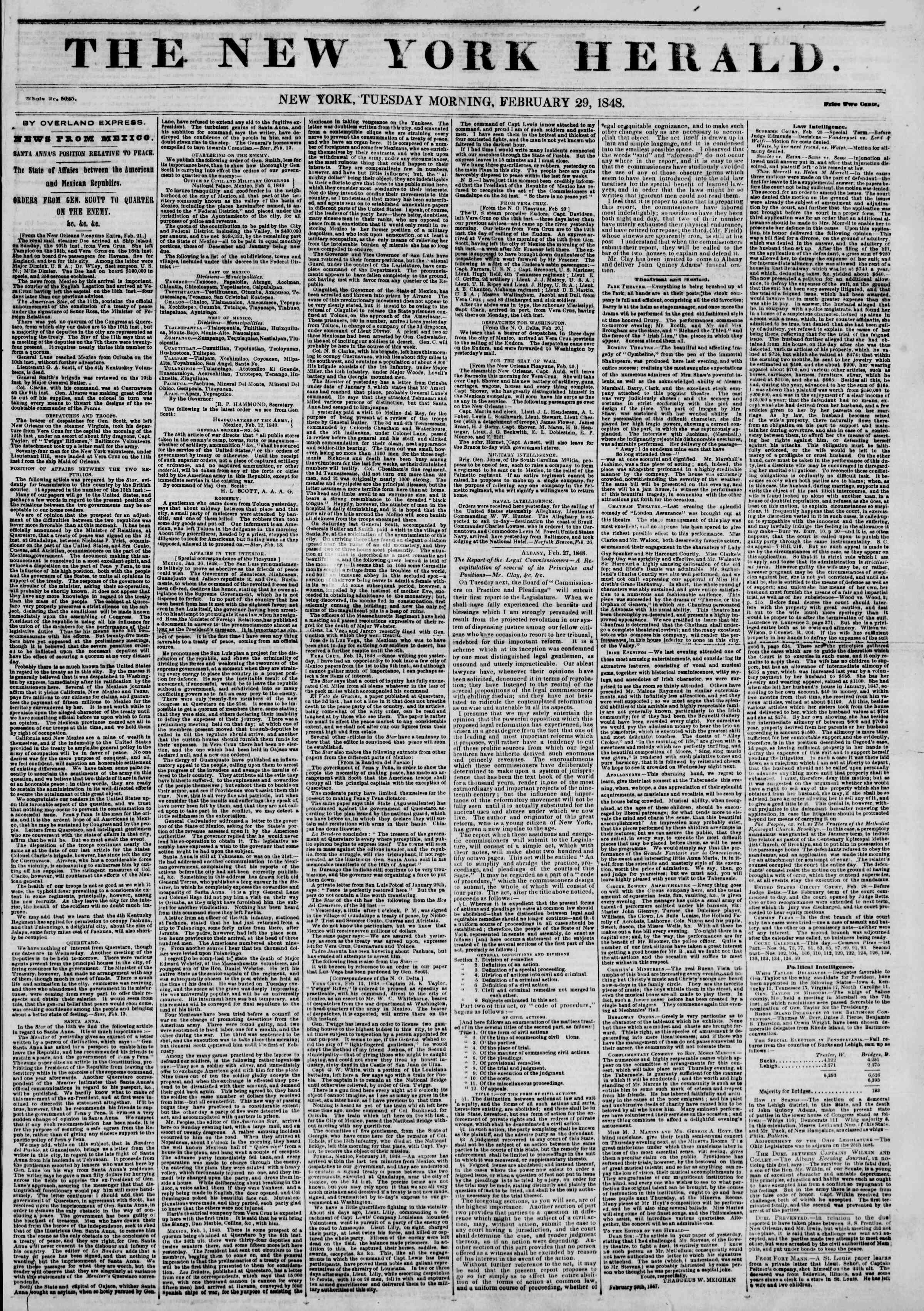 Newspaper of The New York Herald dated February 29, 1848 Page 1