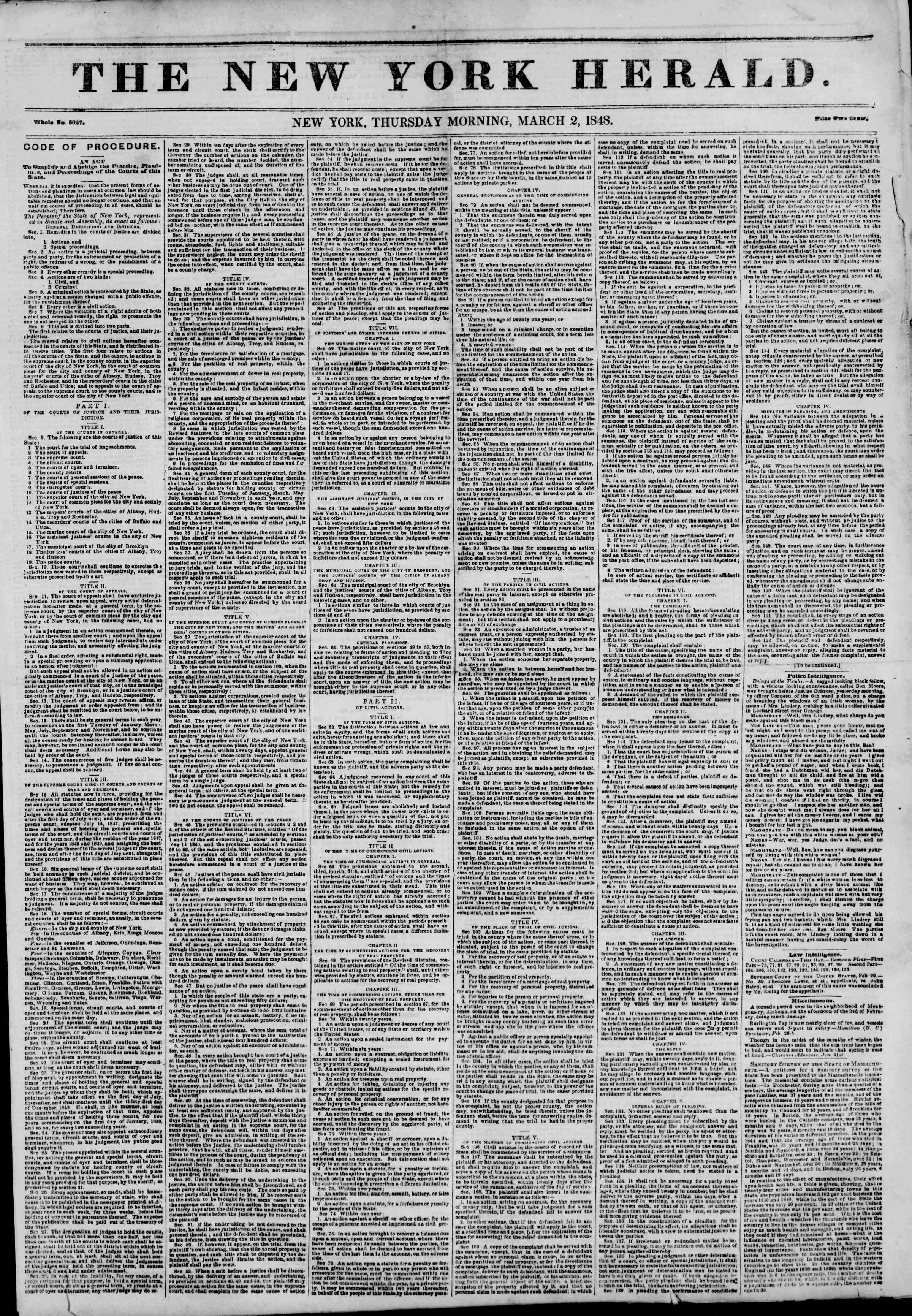 Newspaper of The New York Herald dated March 2, 1848 Page 1