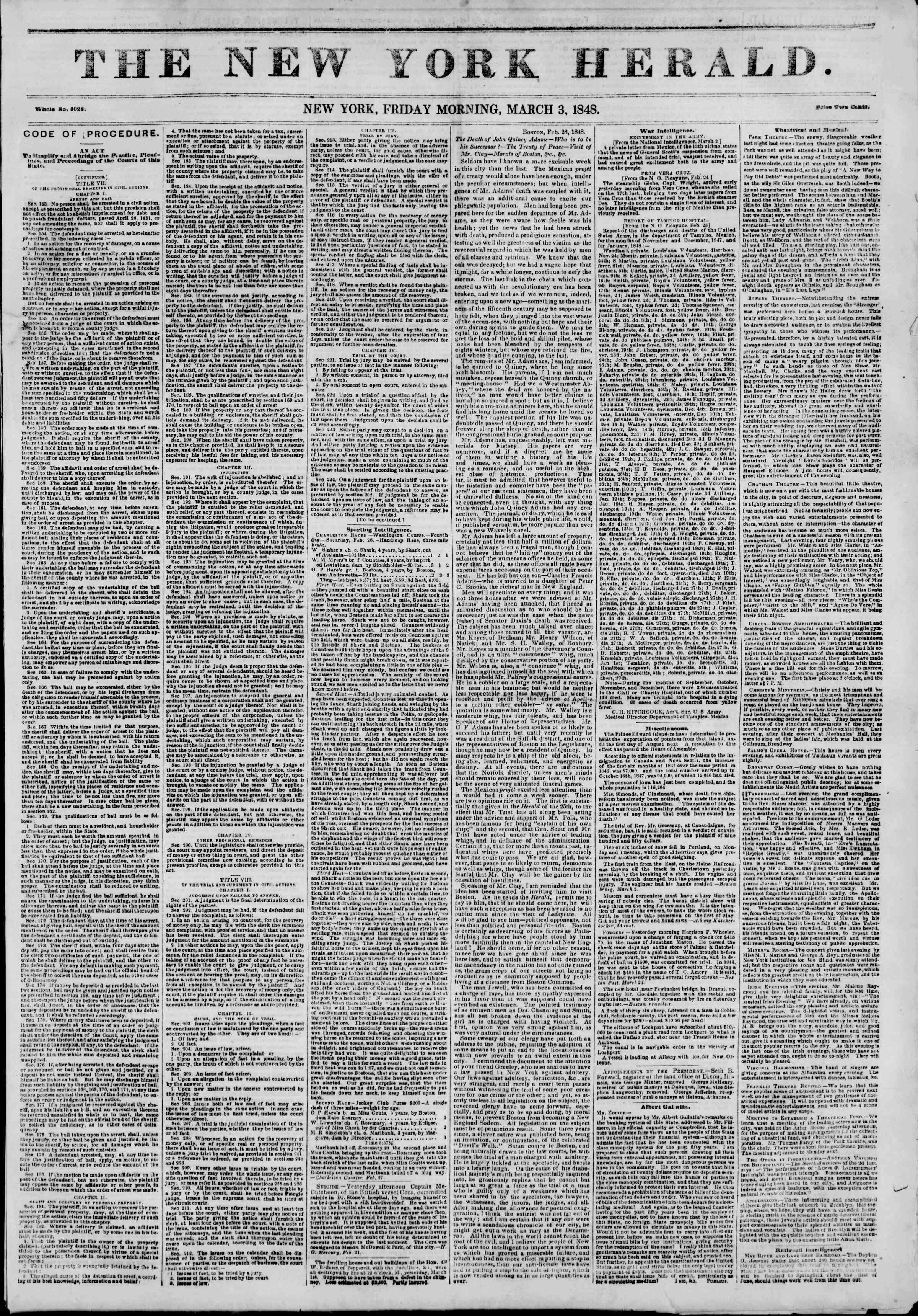 Newspaper of The New York Herald dated March 3, 1848 Page 1