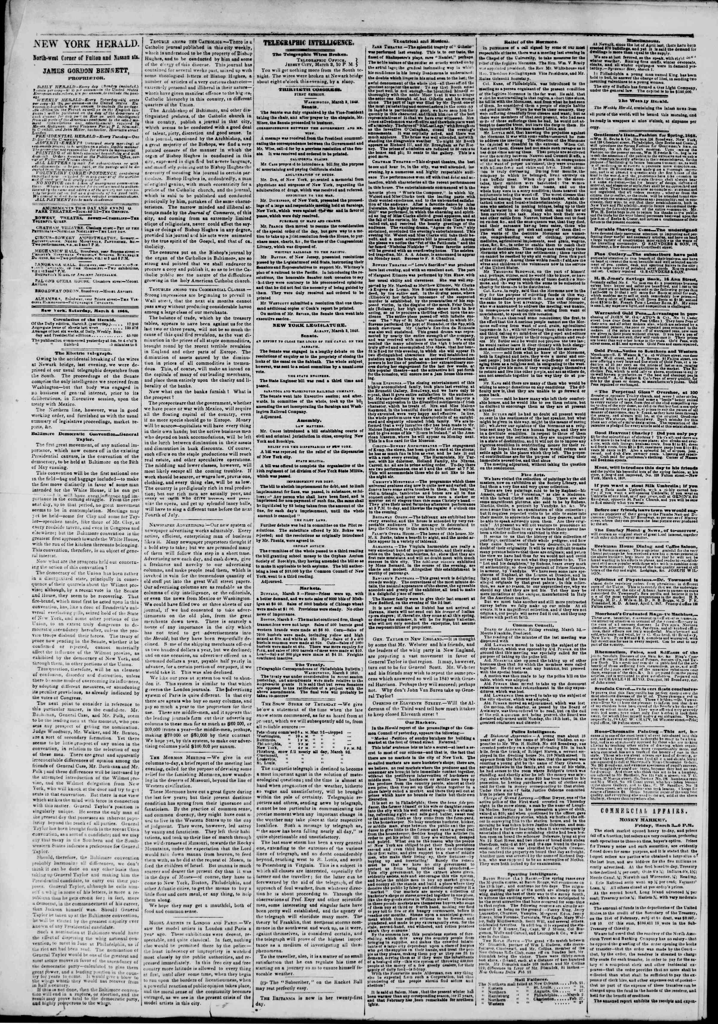 Newspaper of The New York Herald dated March 4, 1848 Page 2