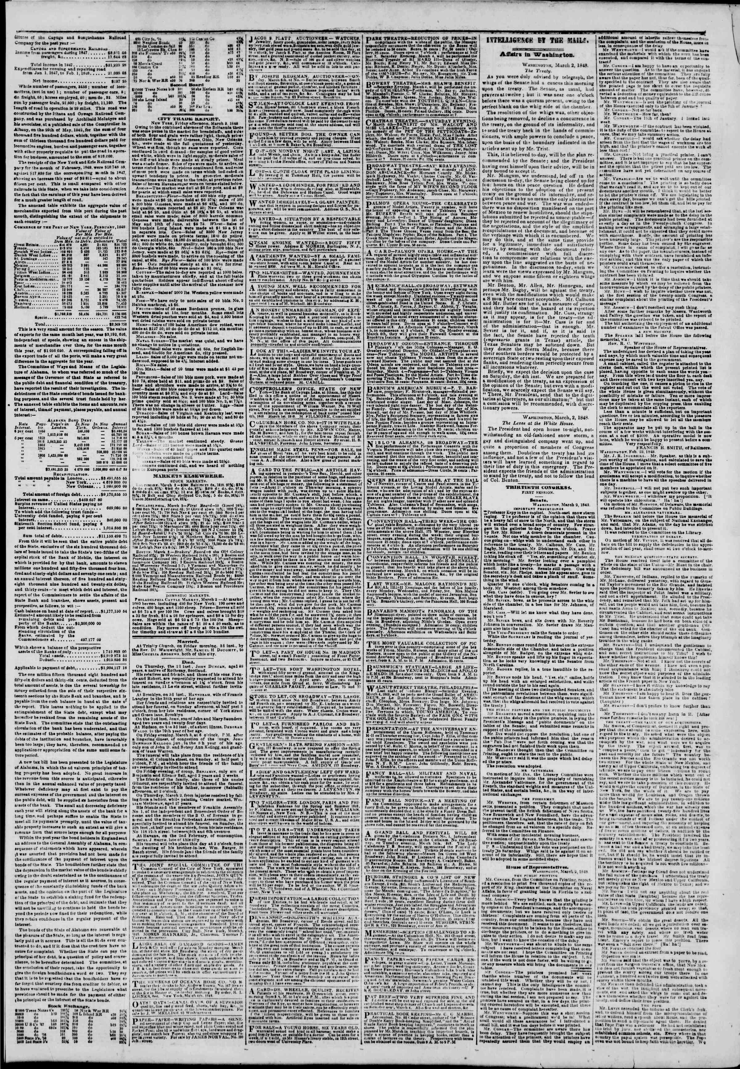 Newspaper of The New York Herald dated March 4, 1848 Page 3
