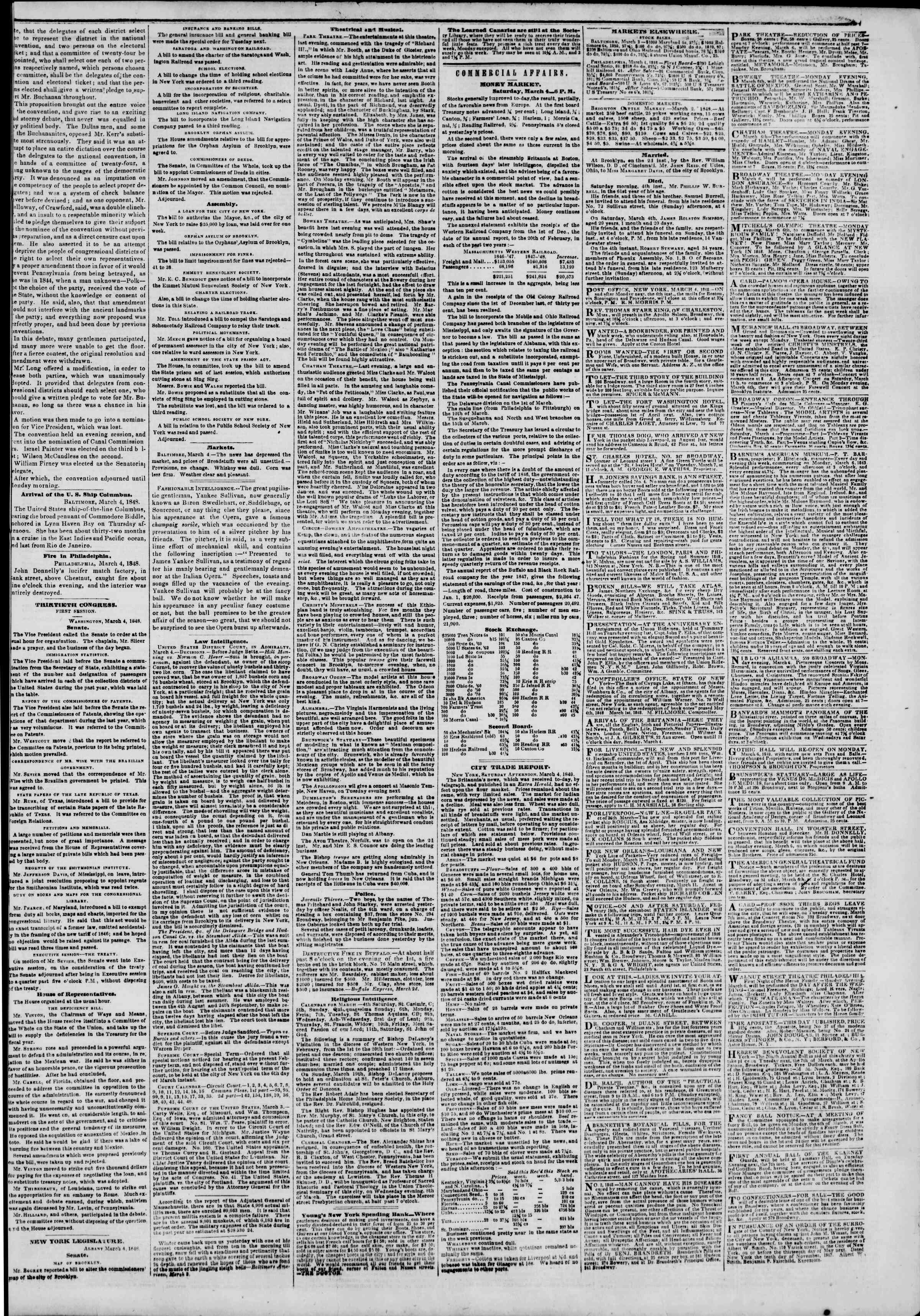 Newspaper of The New York Herald dated March 5, 1848 Page 3