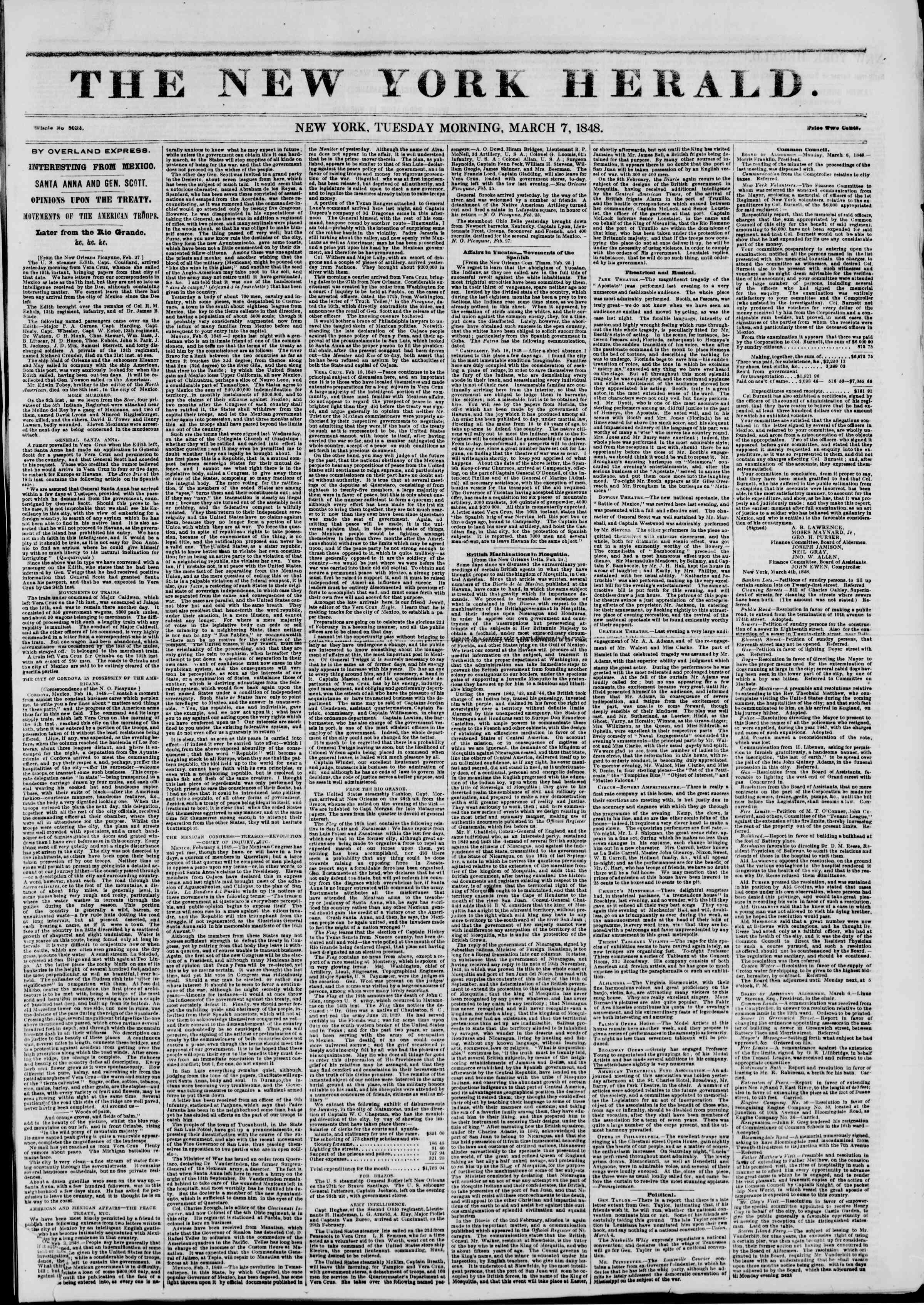 Newspaper of The New York Herald dated March 7, 1848 Page 1