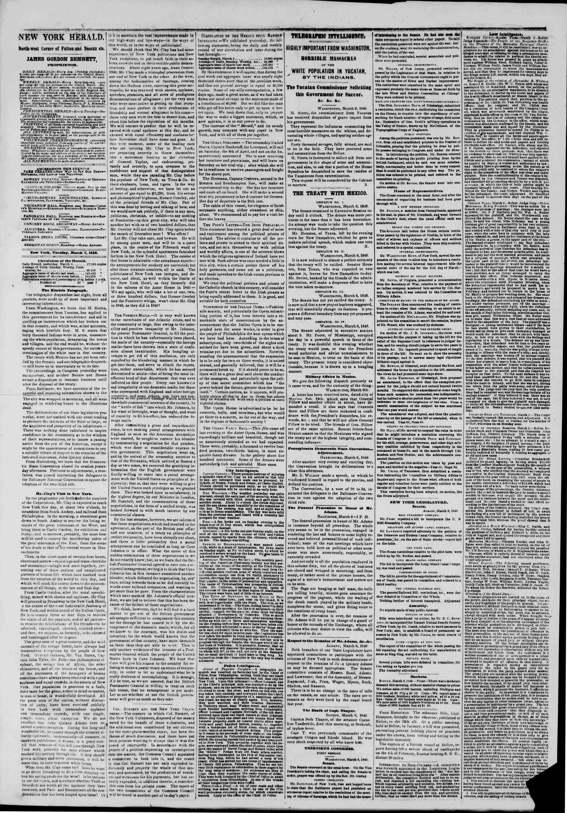 Newspaper of The New York Herald dated March 7, 1848 Page 2