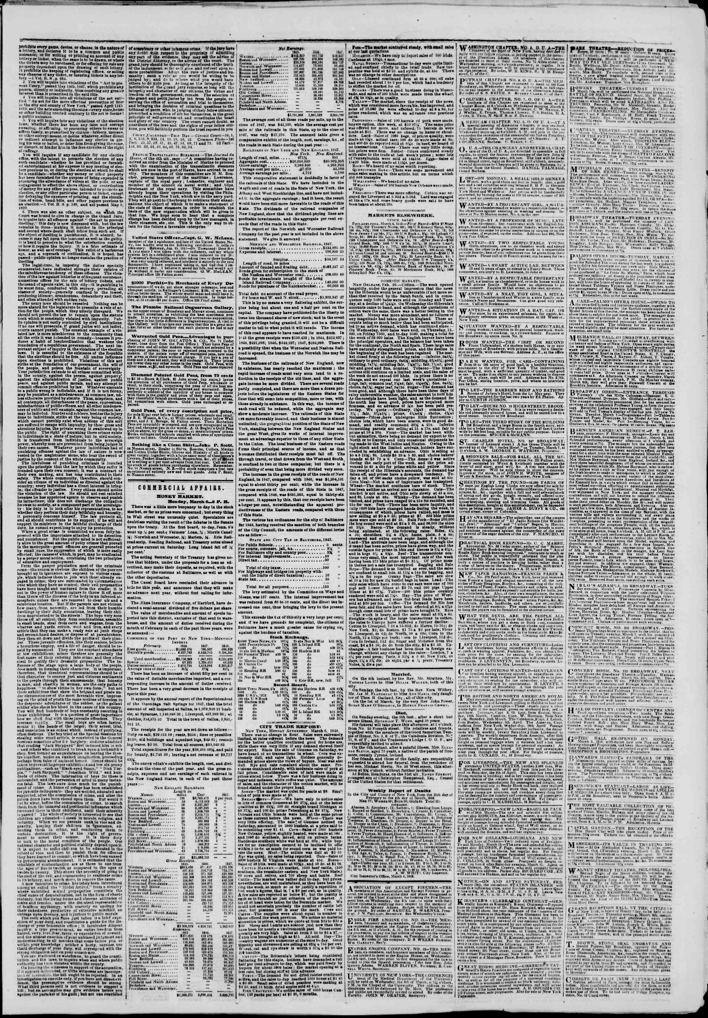 Newspaper of The New York Herald dated March 7, 1848 Page 3