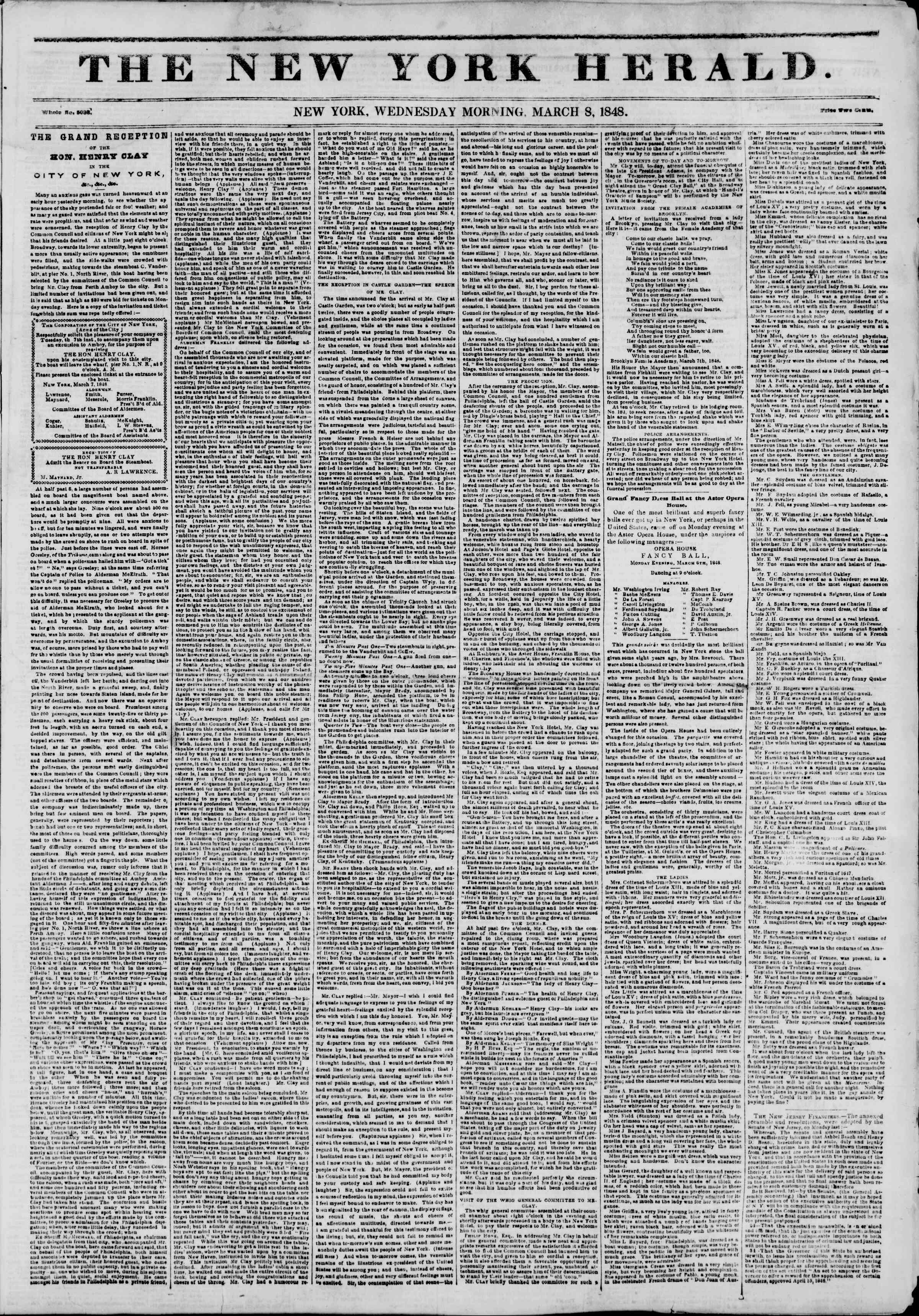 Newspaper of The New York Herald dated March 8, 1848 Page 1