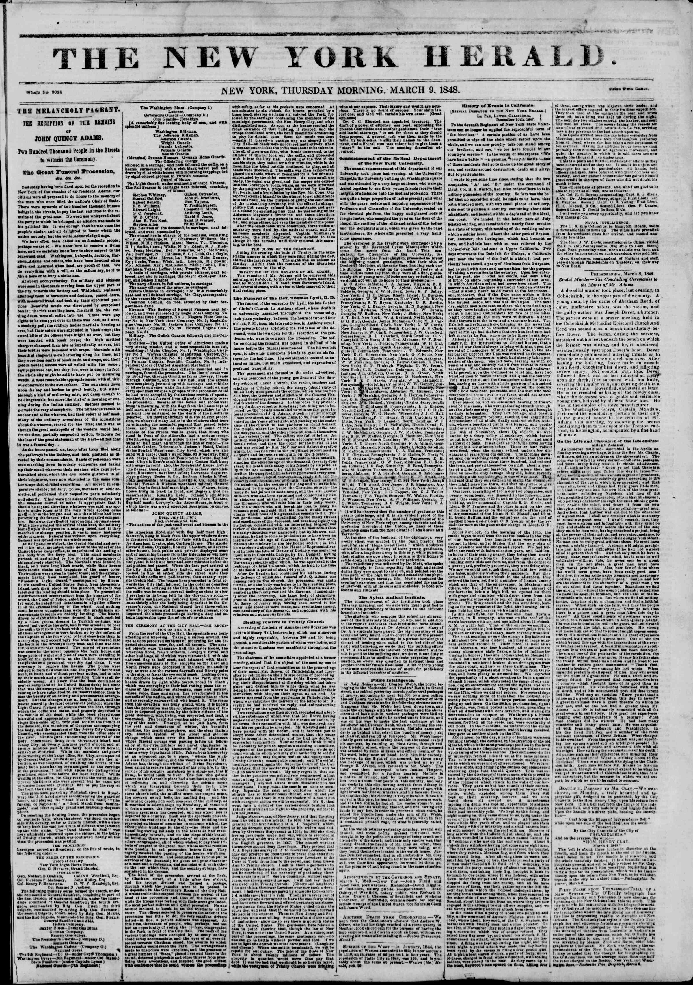 Newspaper of The New York Herald dated March 9, 1848 Page 1