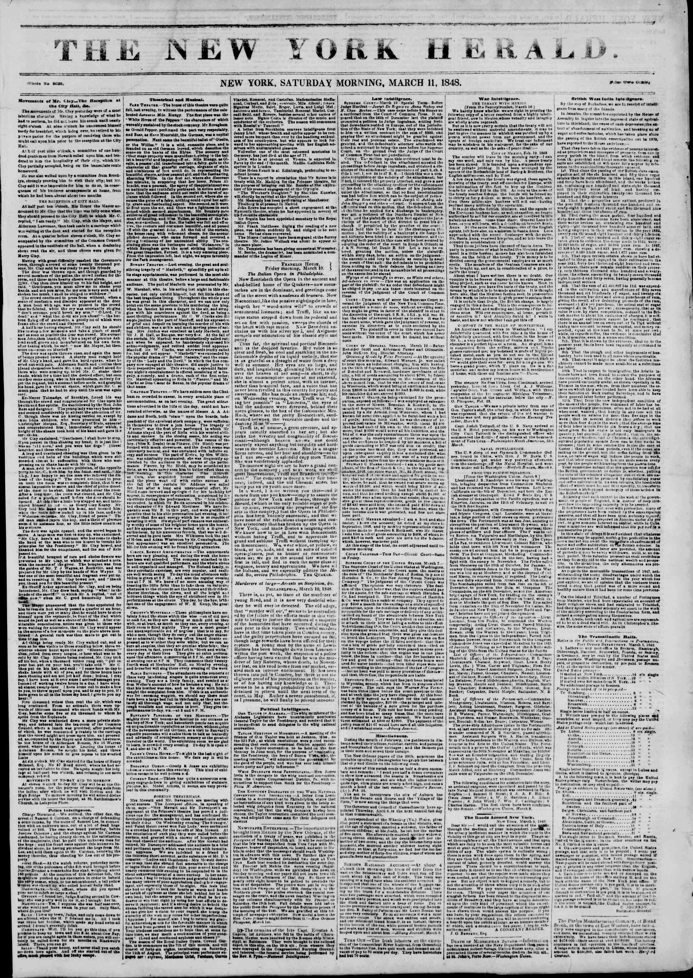 Newspaper of The New York Herald dated March 11, 1848 Page 1