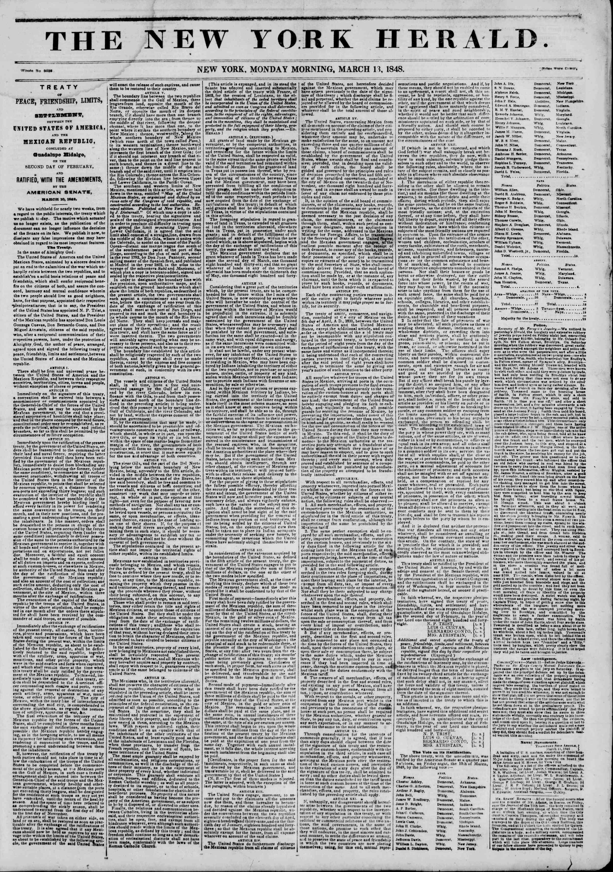 Newspaper of The New York Herald dated March 13, 1848 Page 1