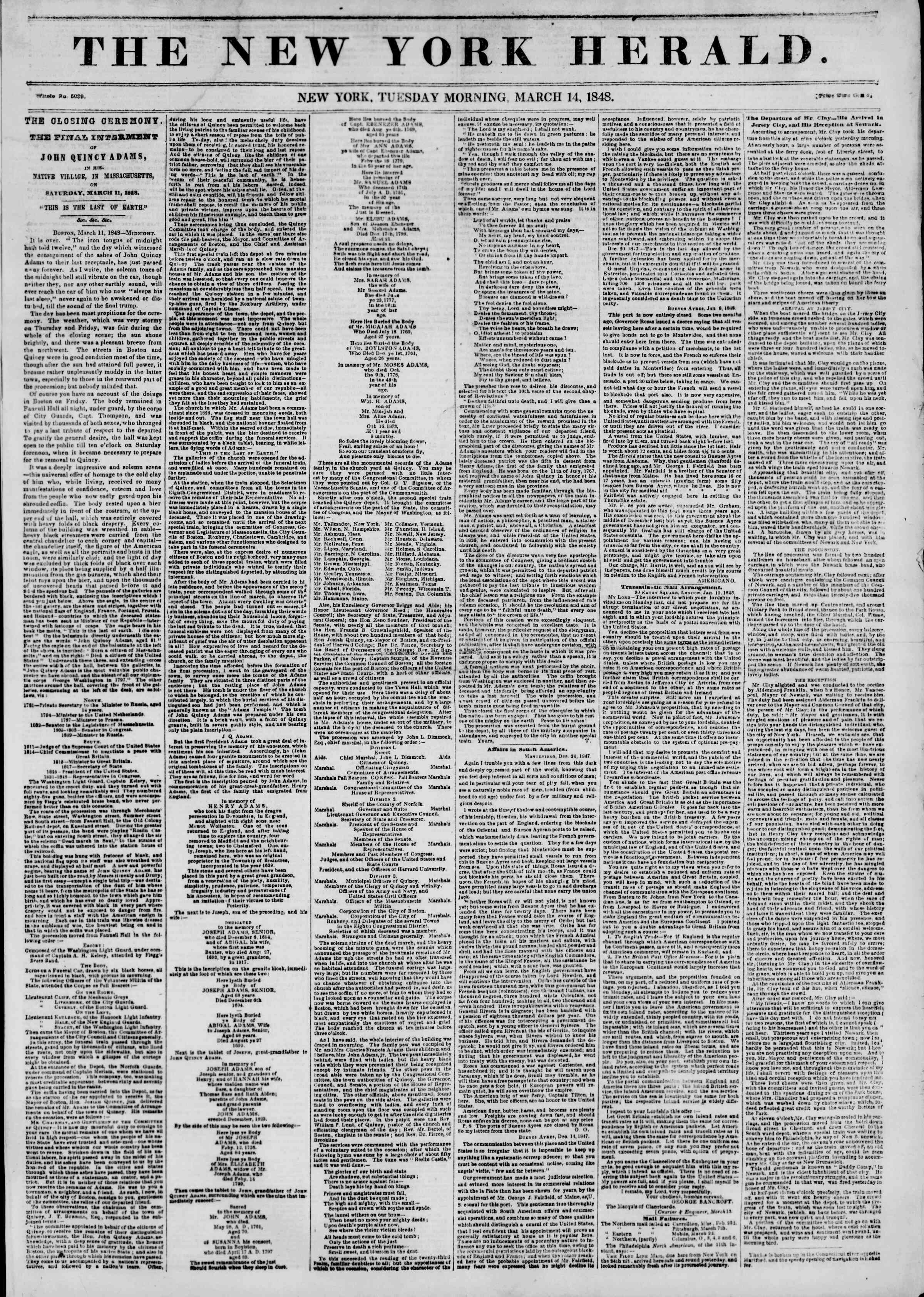 Newspaper of The New York Herald dated March 14, 1848 Page 1