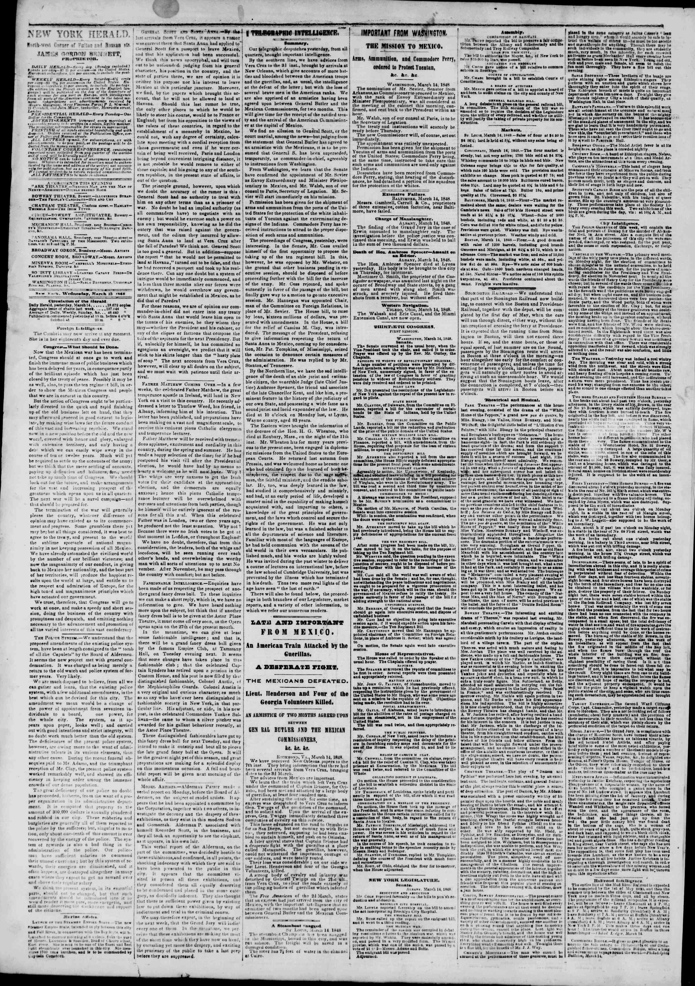 Newspaper of The New York Herald dated March 15, 1848 Page 2