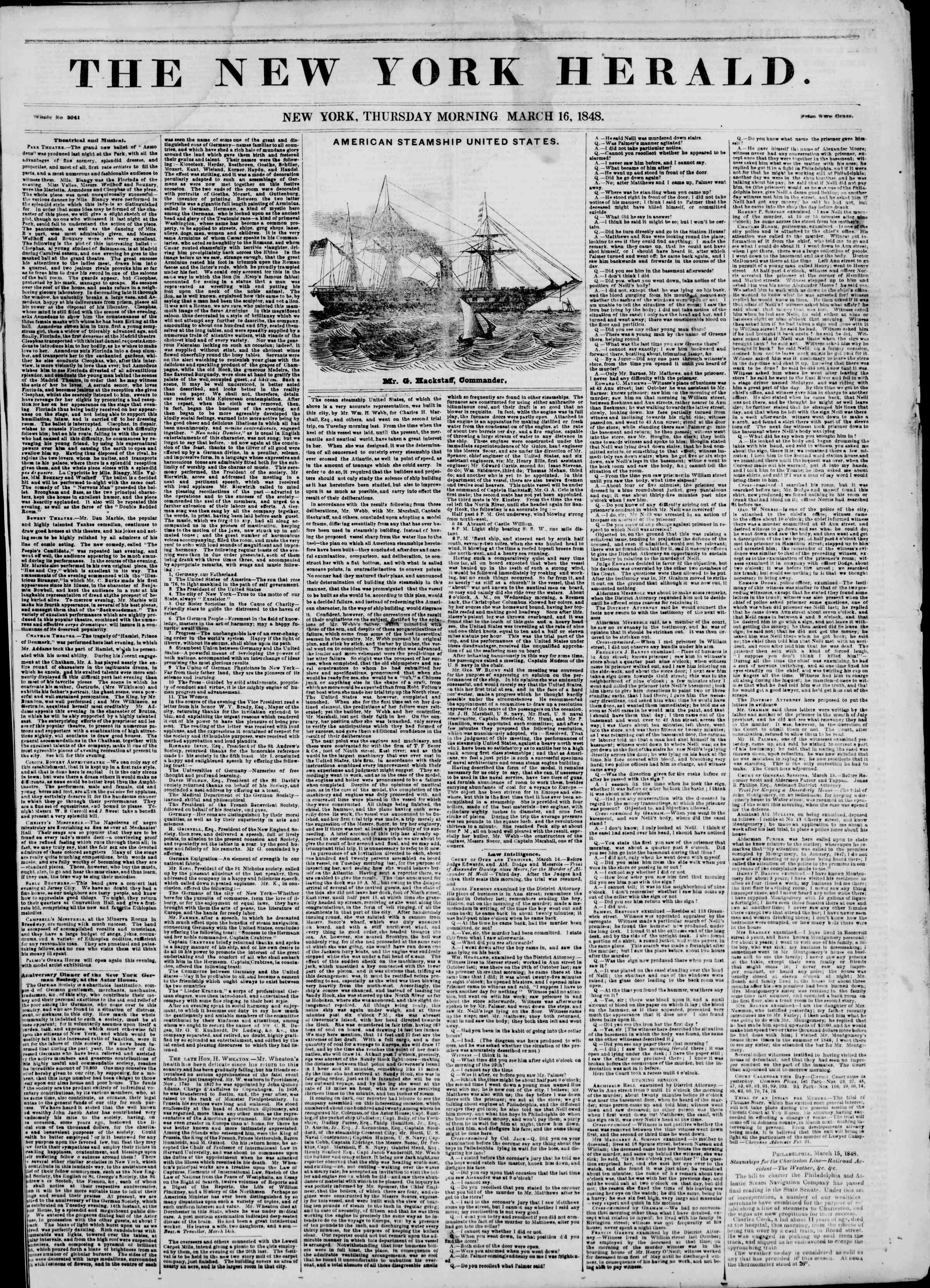 Newspaper of The New York Herald dated March 16, 1848 Page 1
