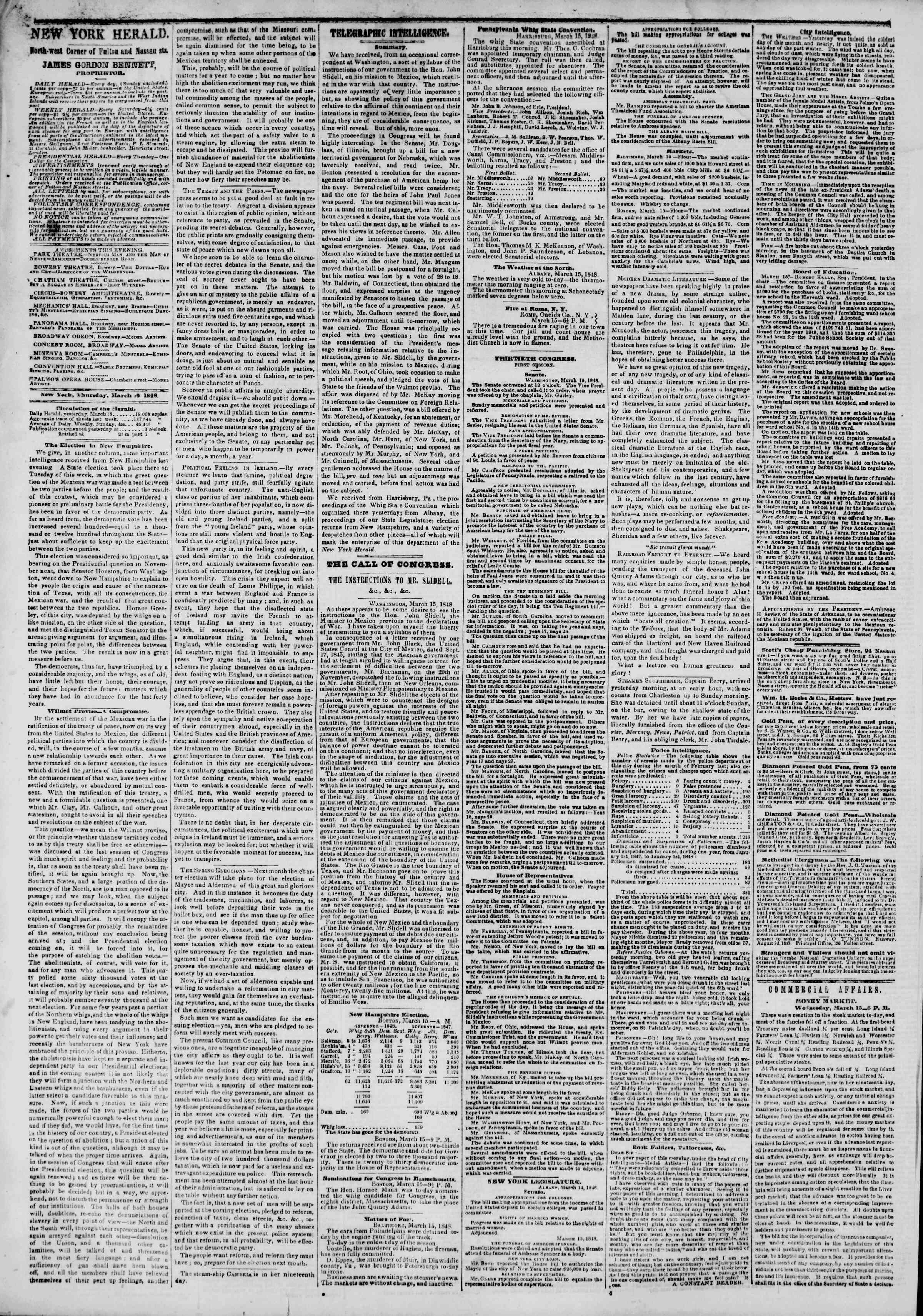 Newspaper of The New York Herald dated March 16, 1848 Page 2