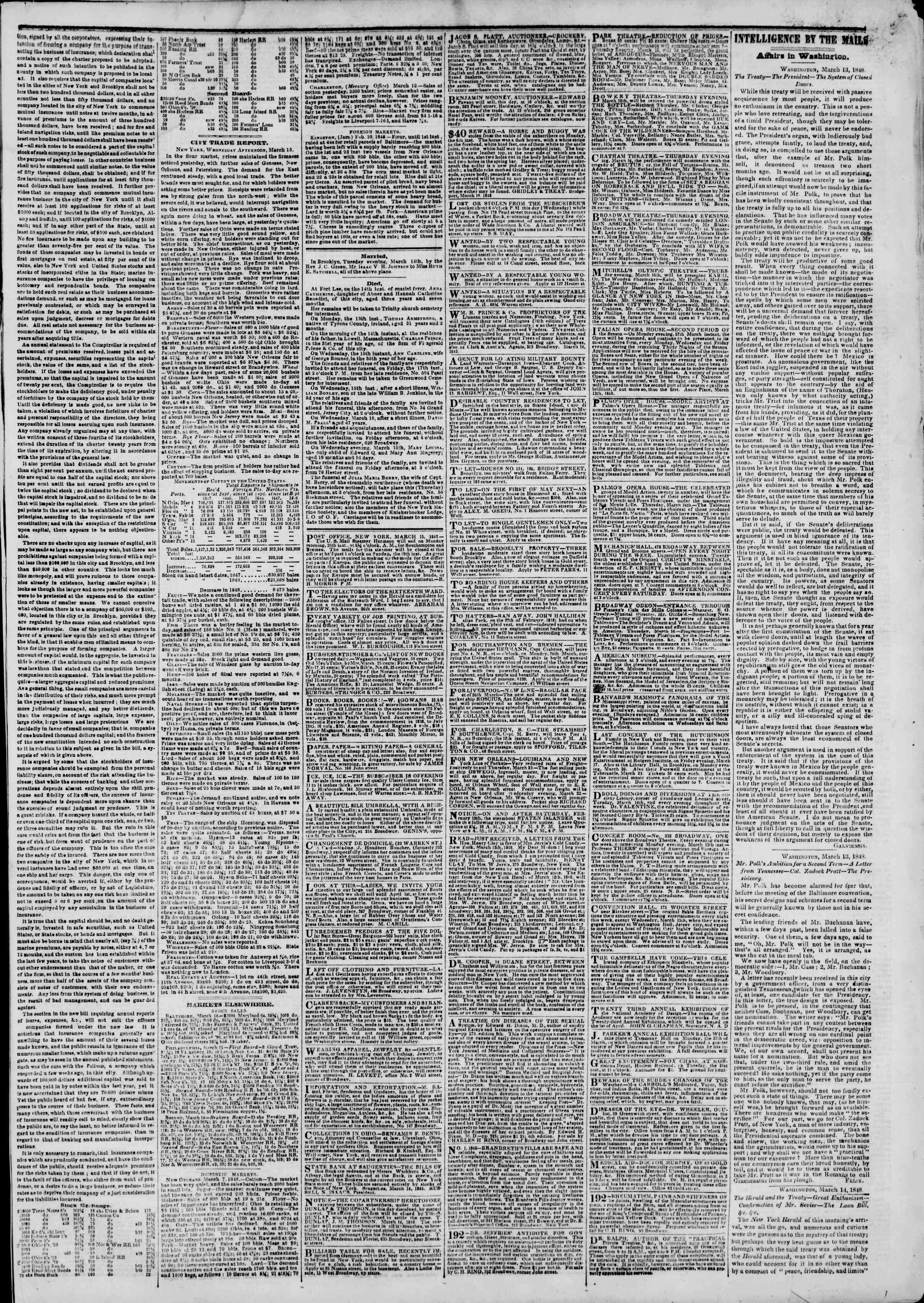 Newspaper of The New York Herald dated March 16, 1848 Page 3