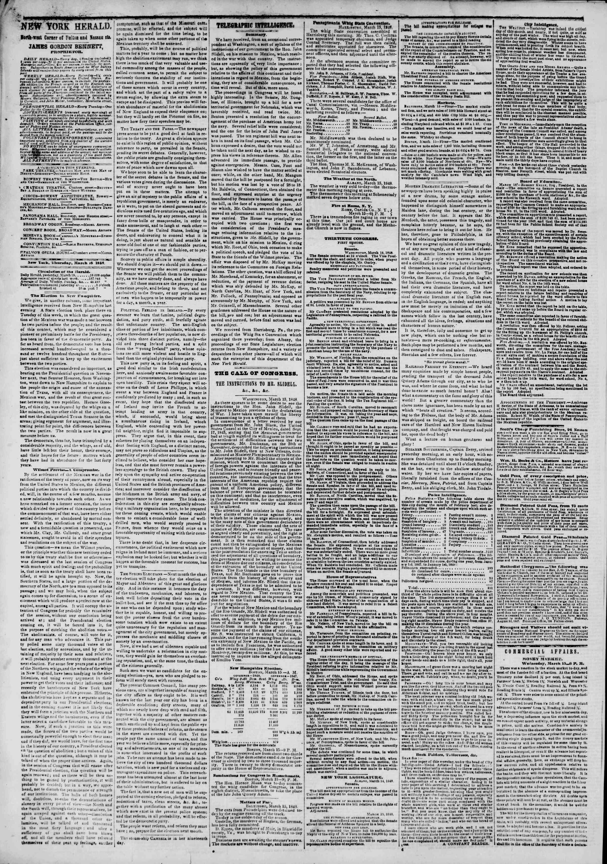 Newspaper of The New York Herald dated March 16, 1848 Page 4
