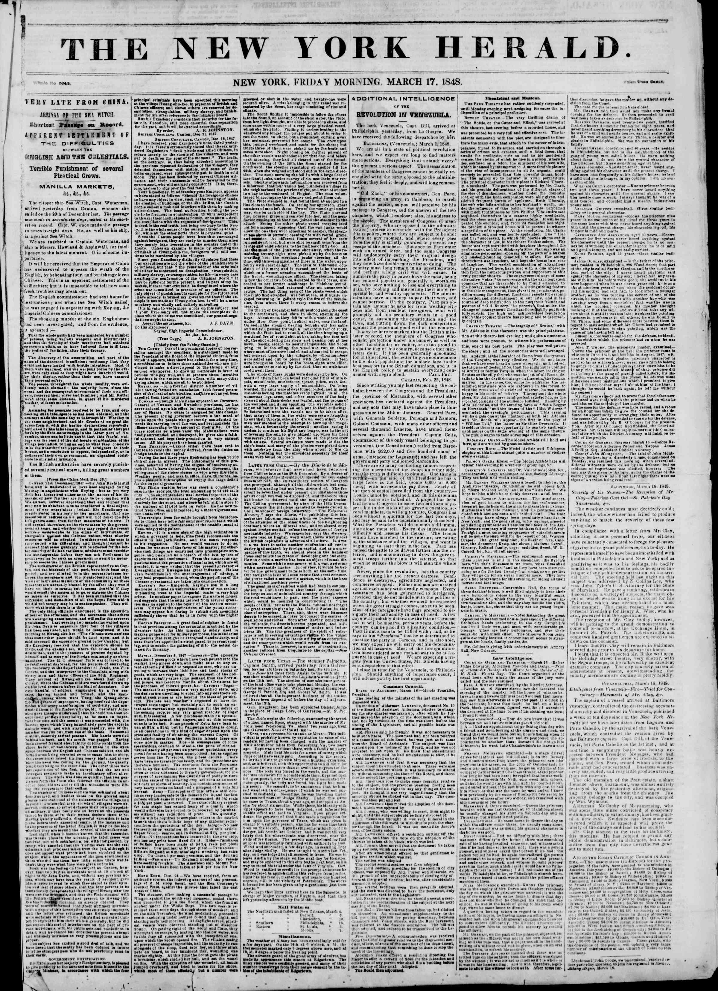 Newspaper of The New York Herald dated March 17, 1848 Page 1