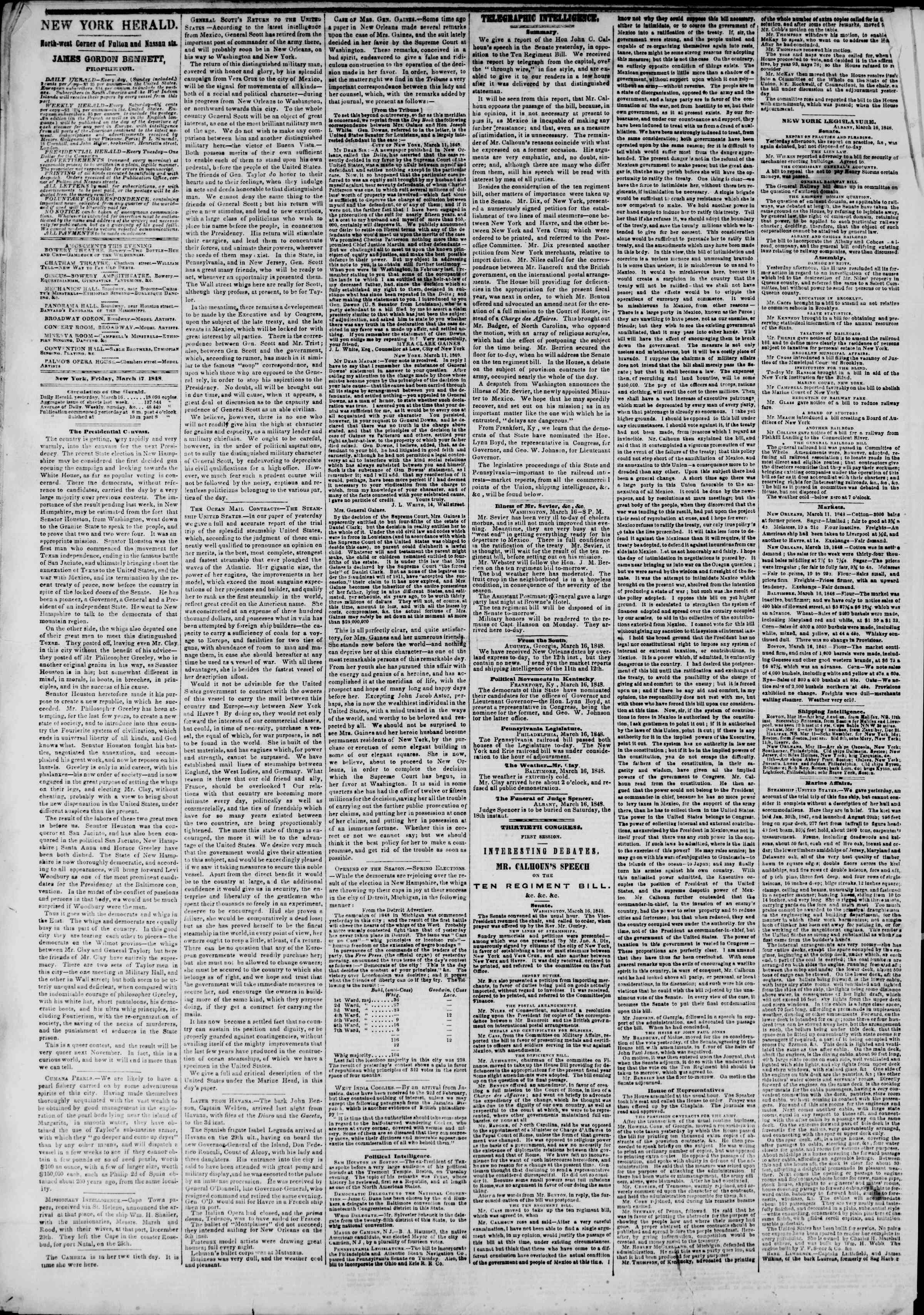 Newspaper of The New York Herald dated March 17, 1848 Page 2