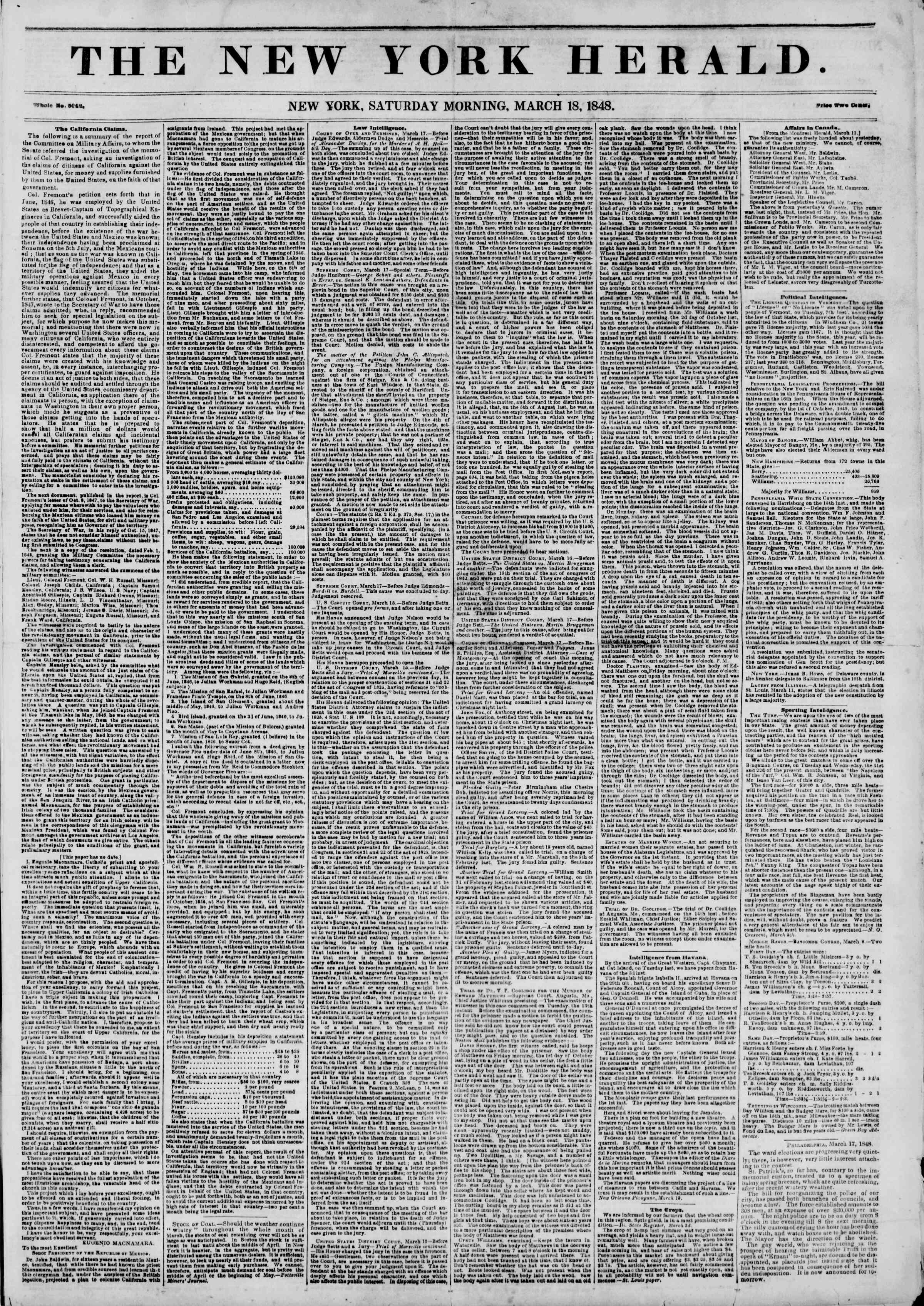 Newspaper of The New York Herald dated March 18, 1848 Page 1