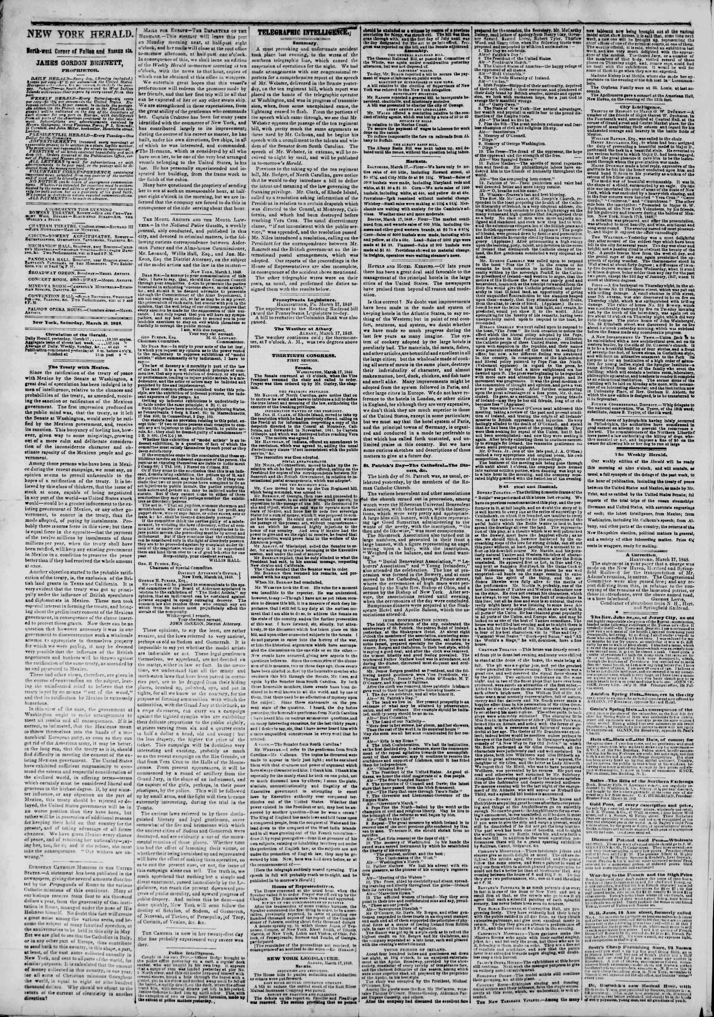 18 Mart 1848 tarihli The New York Herald Gazetesi Sayfa 2