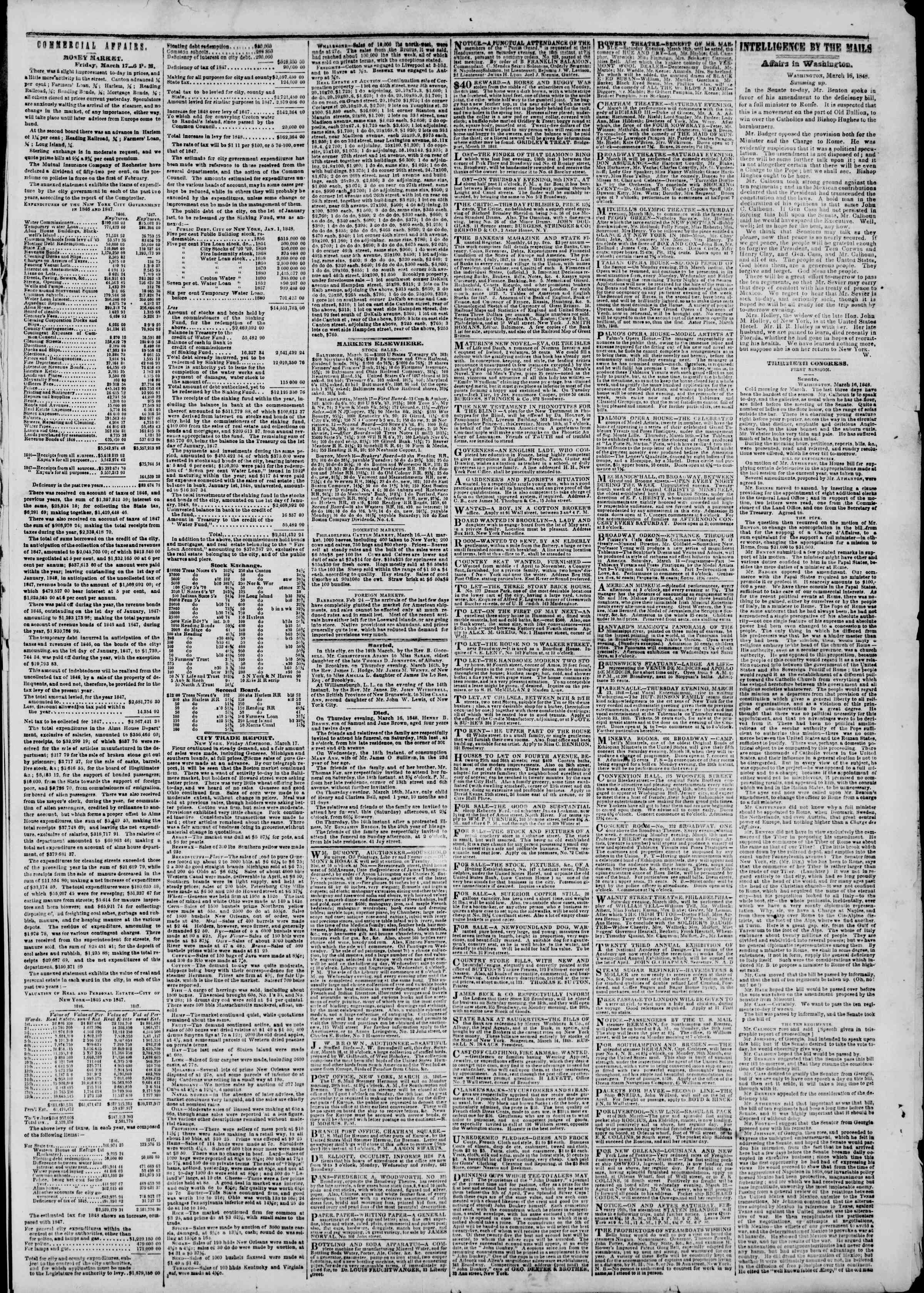 Newspaper of The New York Herald dated March 18, 1848 Page 3