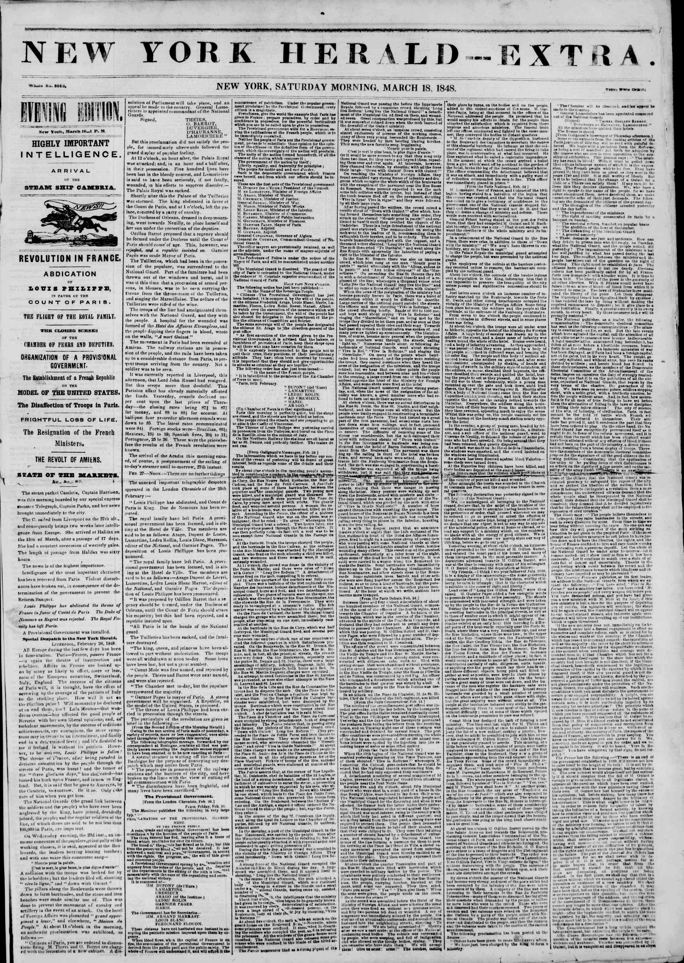 Newspaper of The New York Herald dated March 18, 1848 Page 5