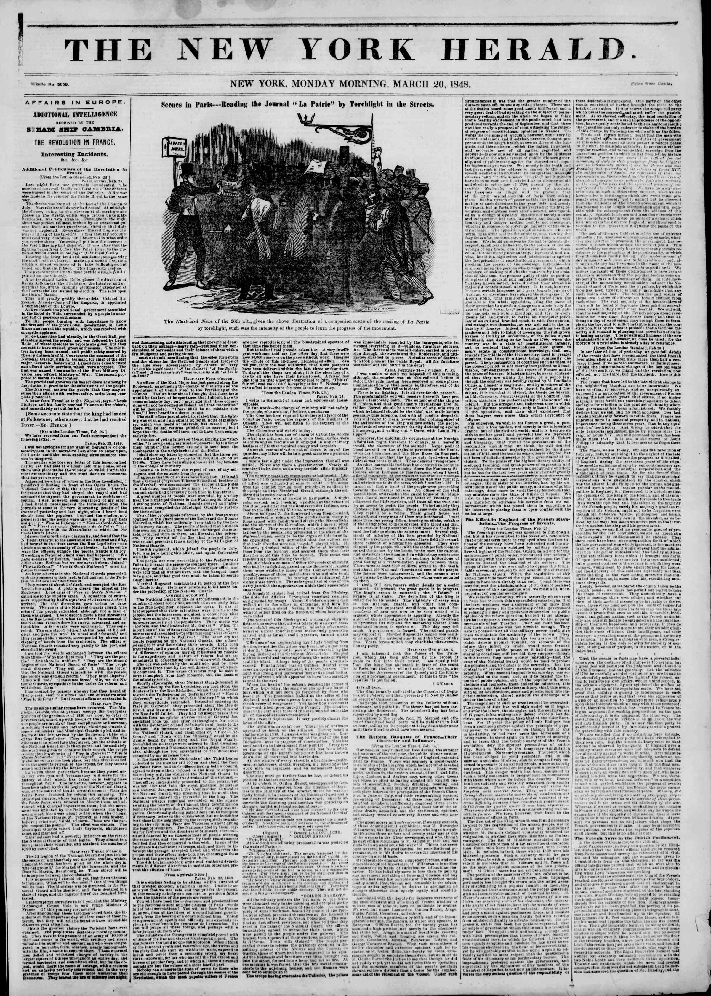 Newspaper of The New York Herald dated March 20, 1848 Page 1