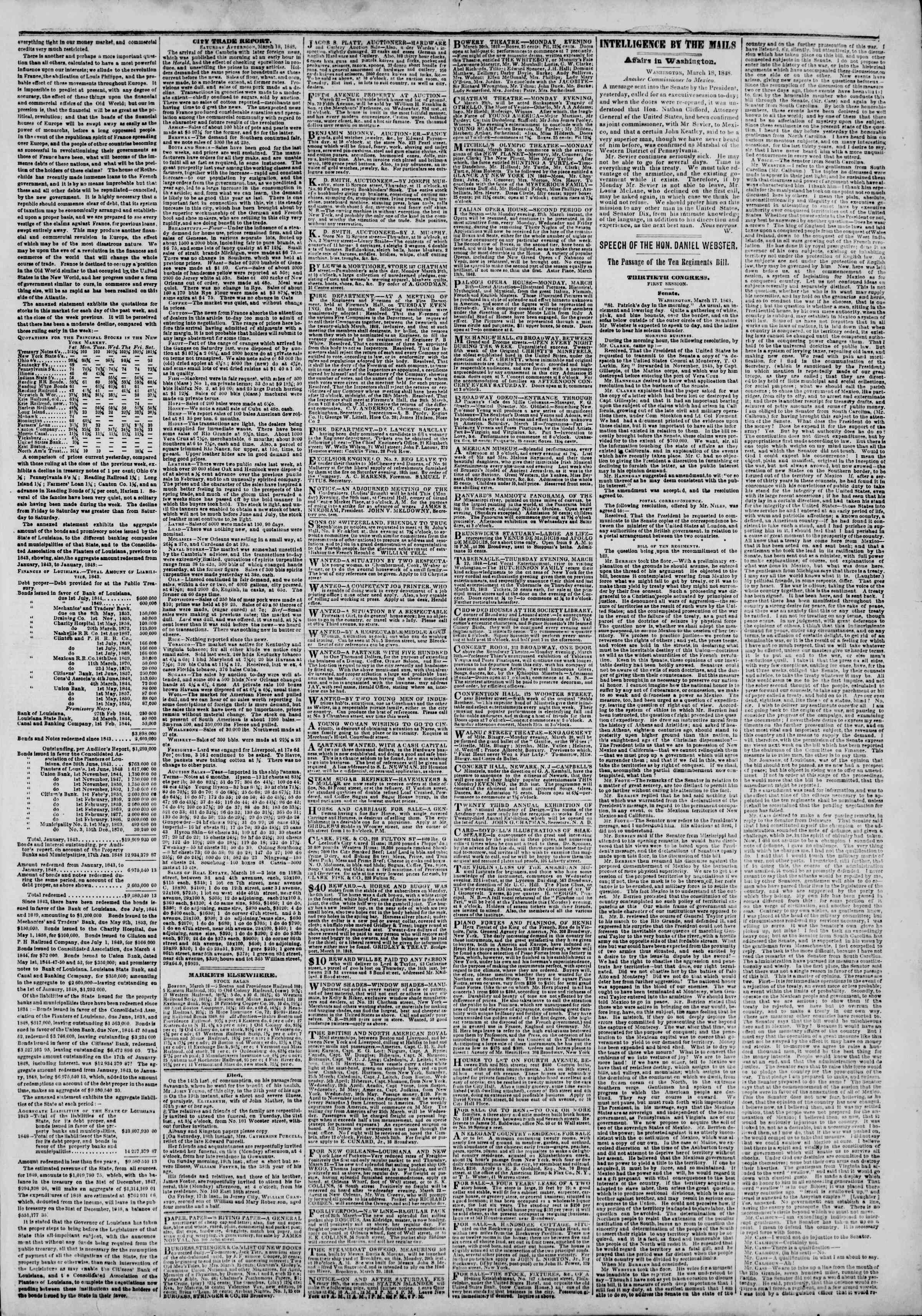 Newspaper of The New York Herald dated March 20, 1848 Page 3