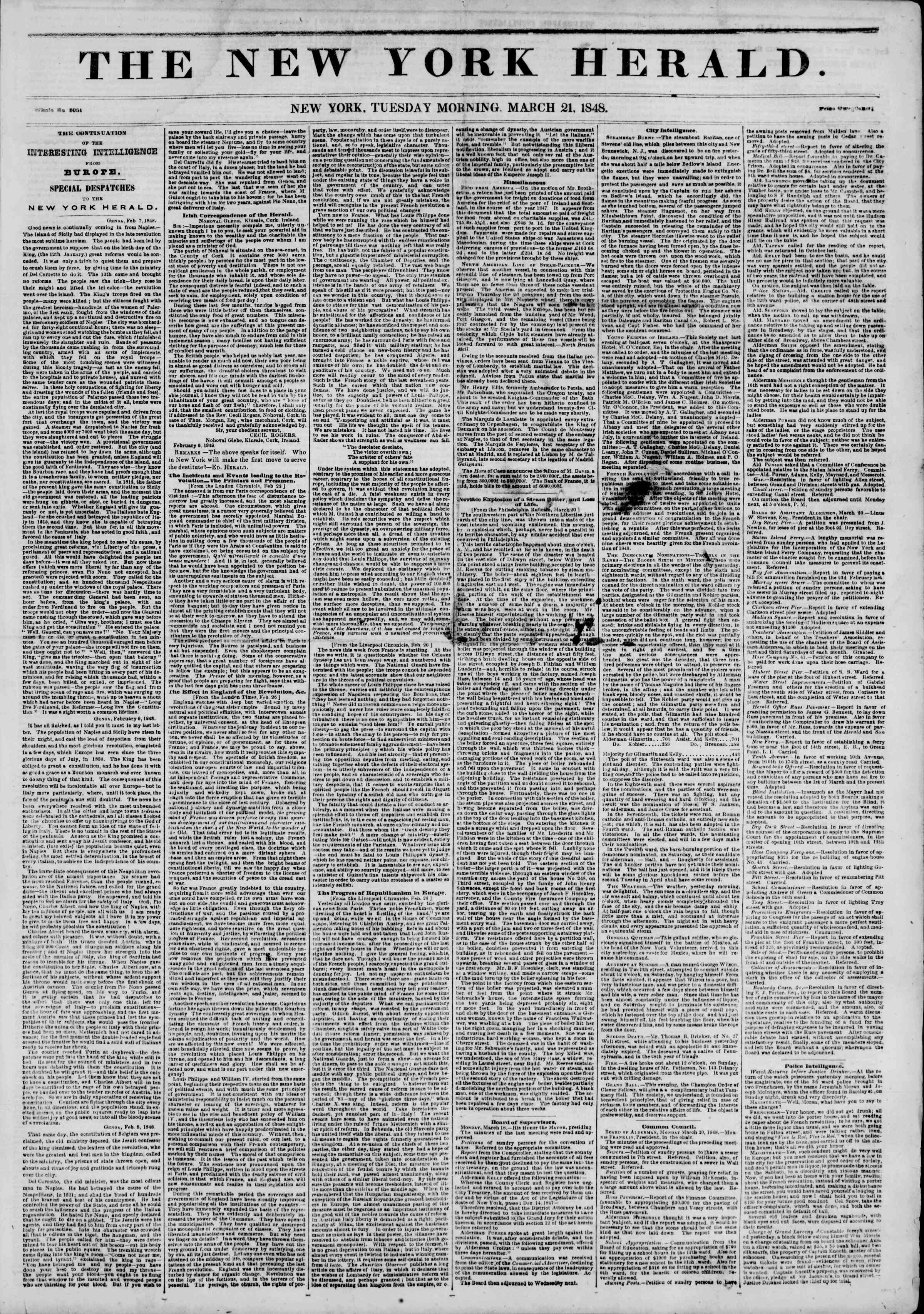 Newspaper of The New York Herald dated March 21, 1848 Page 1