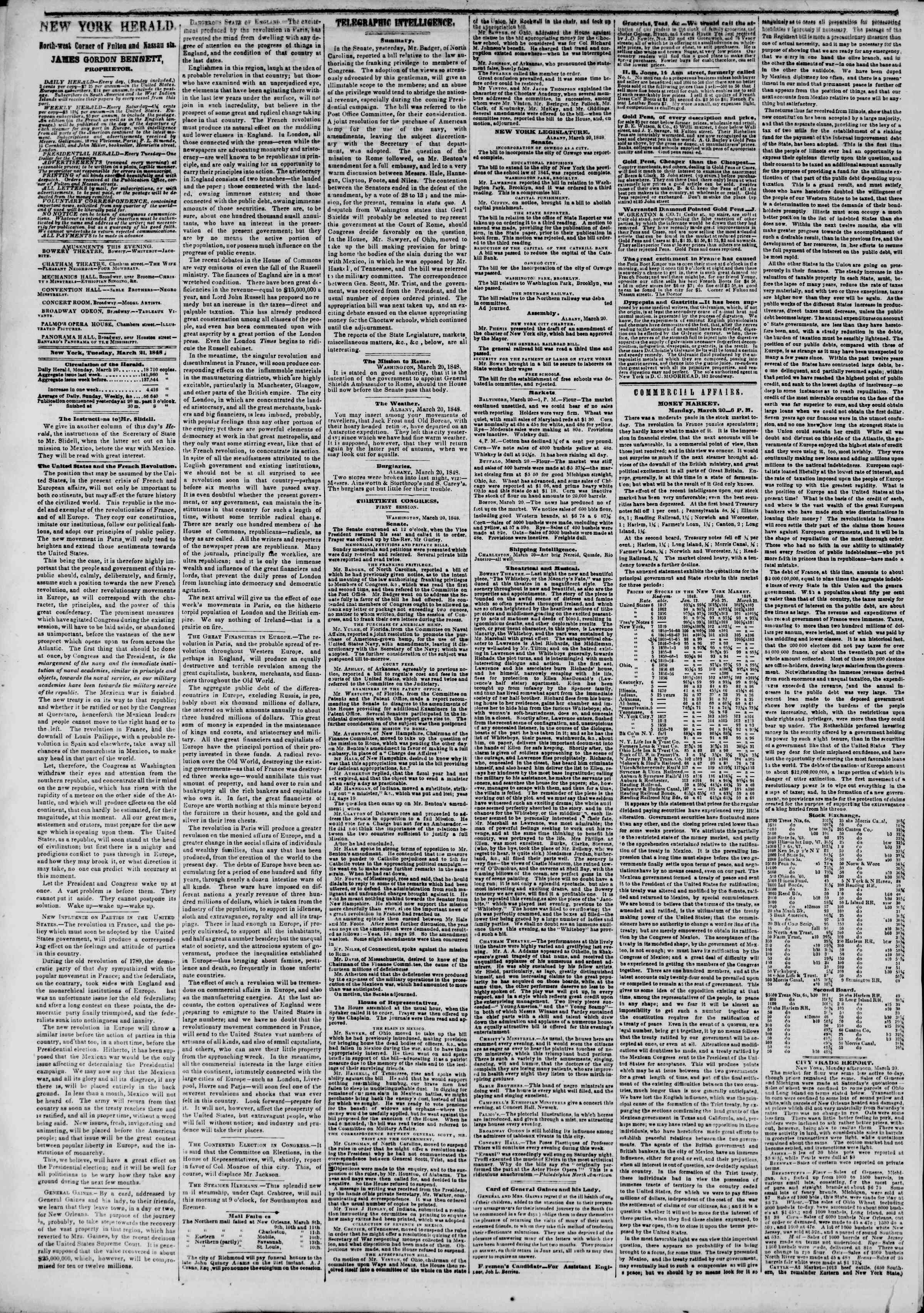 Newspaper of The New York Herald dated March 21, 1848 Page 2