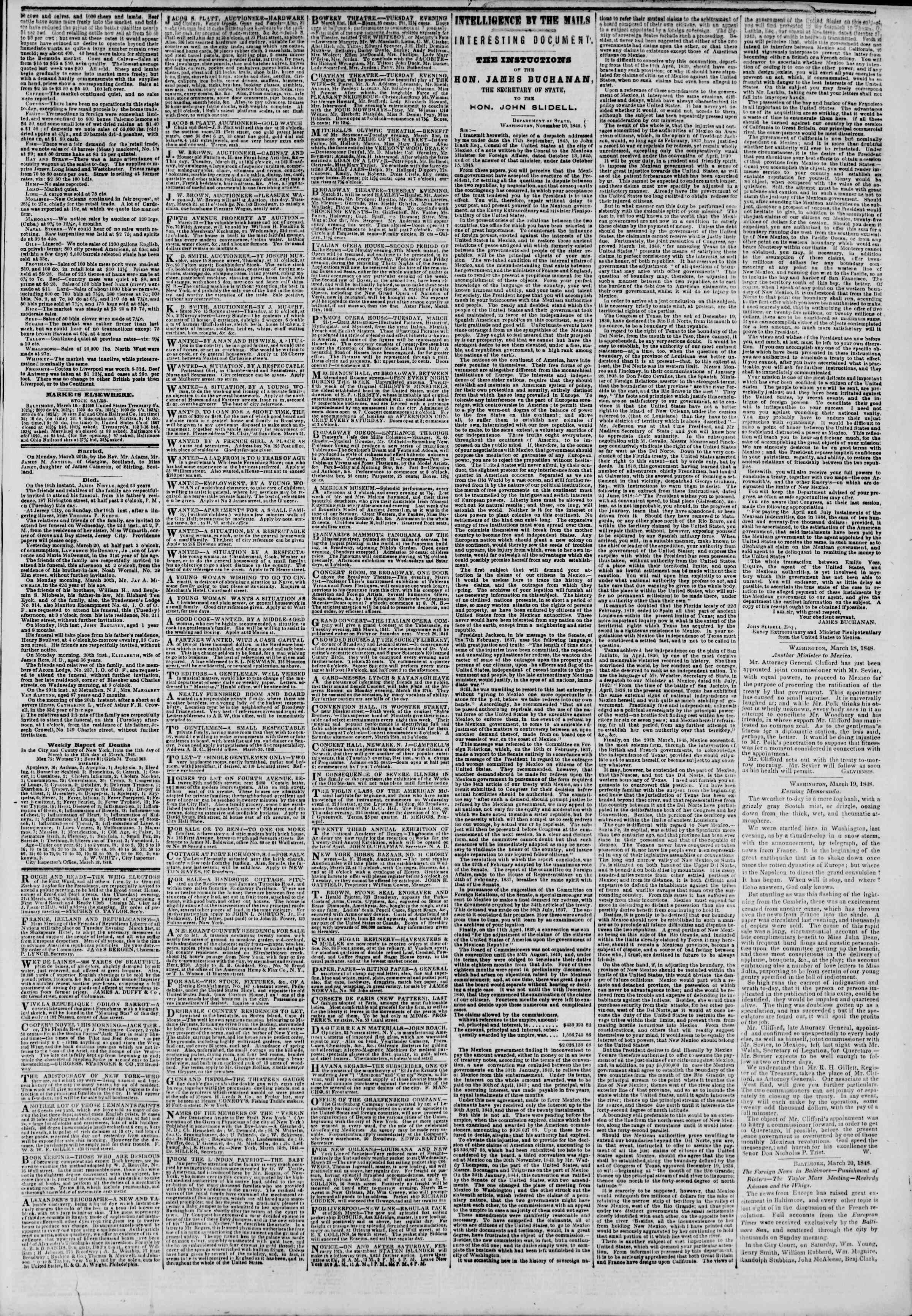 Newspaper of The New York Herald dated March 21, 1848 Page 3