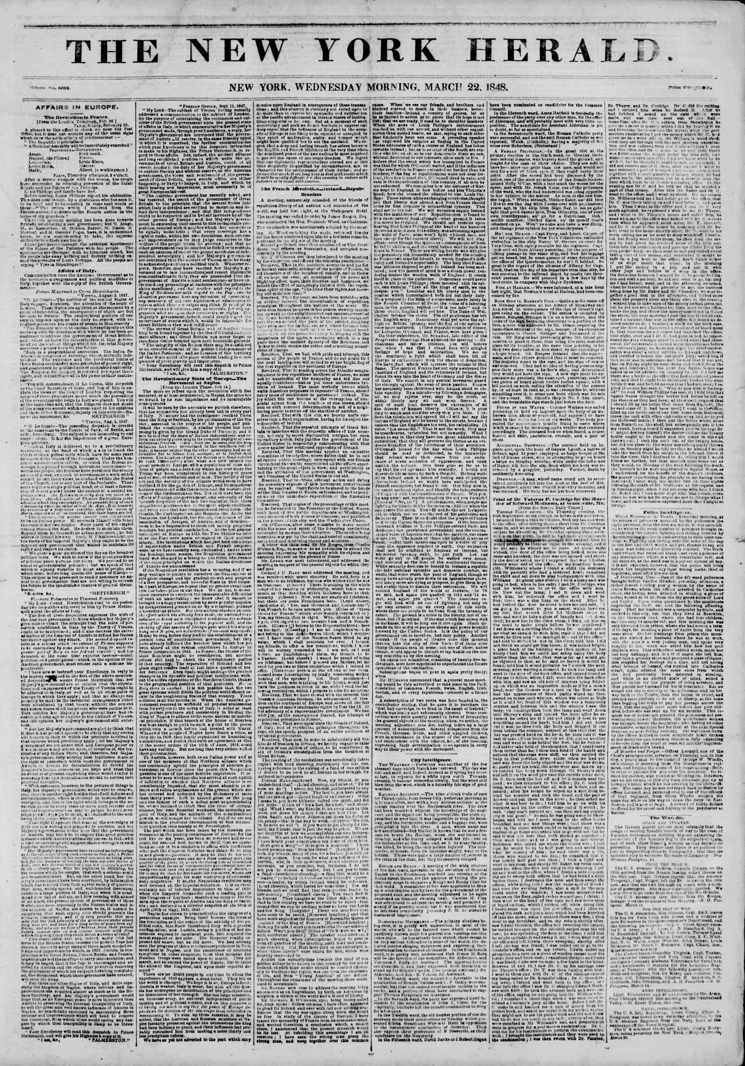 Newspaper of The New York Herald dated March 22, 1848 Page 1