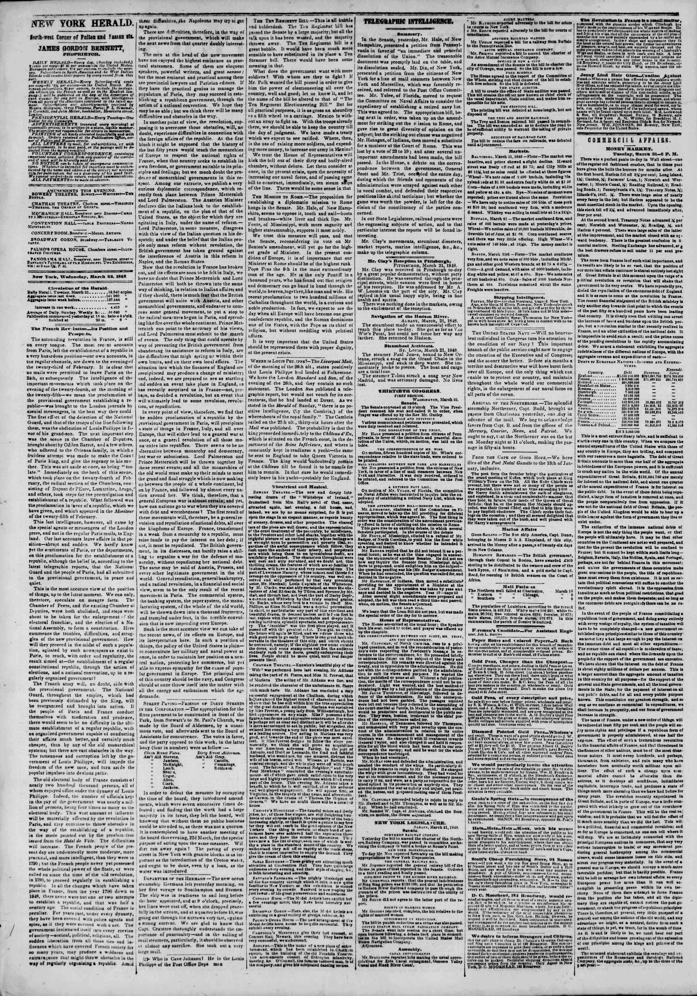 Newspaper of The New York Herald dated March 22, 1848 Page 2