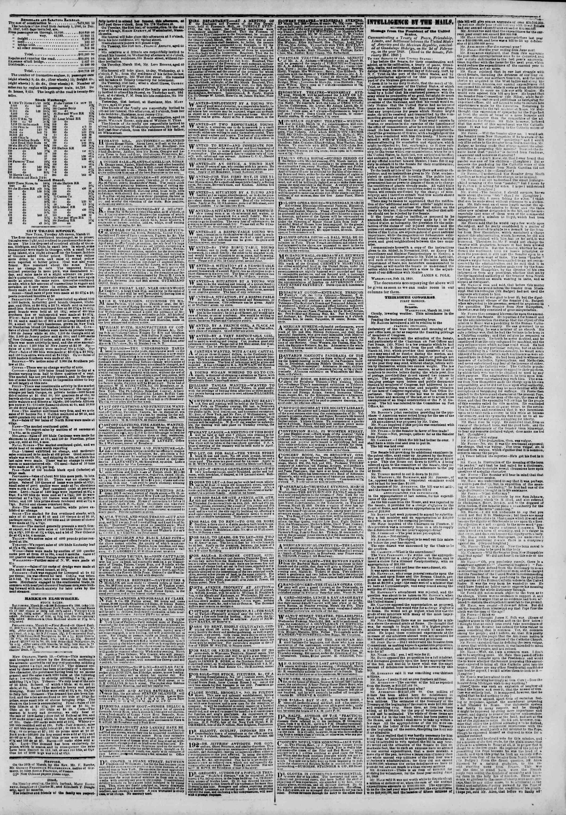 Newspaper of The New York Herald dated March 22, 1848 Page 3