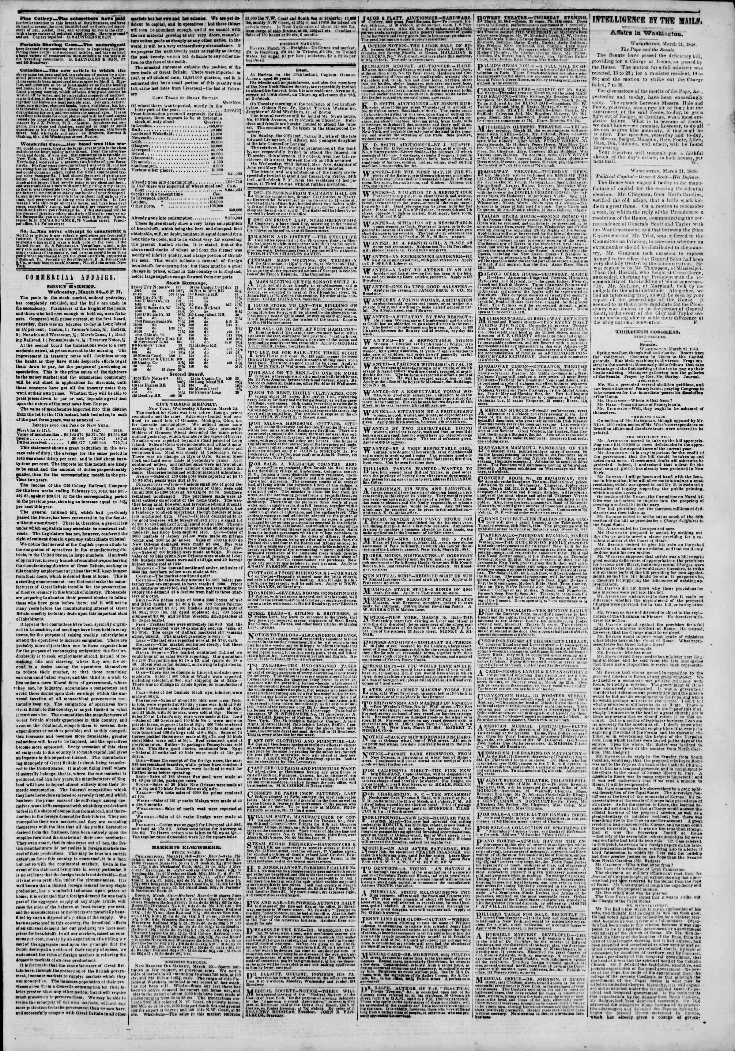 Newspaper of The New York Herald dated March 23, 1848 Page 3