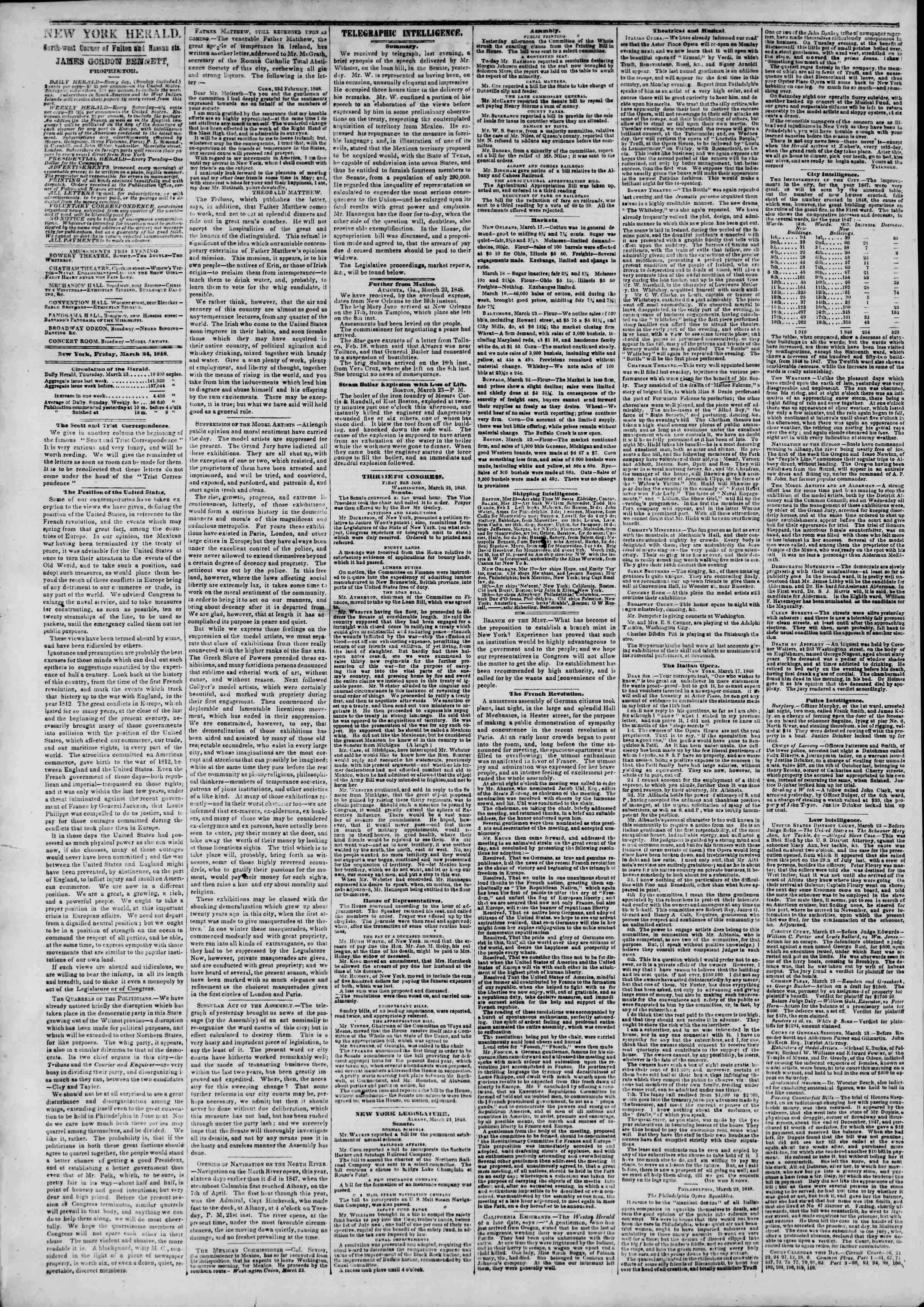 Newspaper of The New York Herald dated March 24, 1848 Page 2