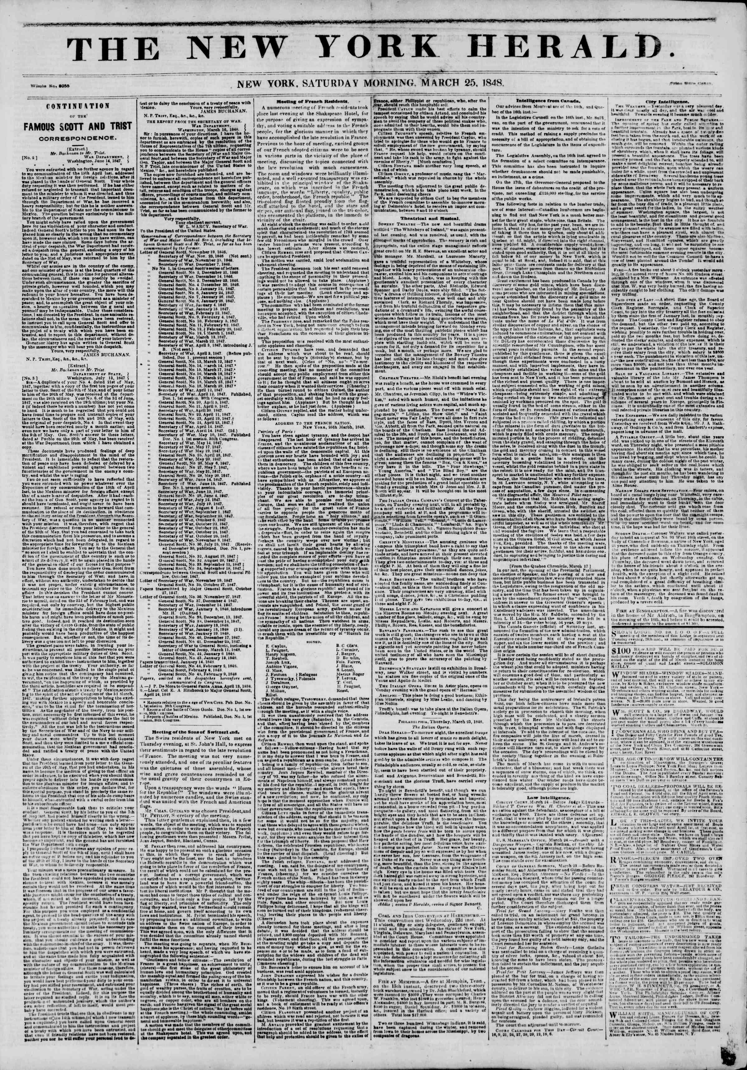 Newspaper of The New York Herald dated March 25, 1848 Page 1