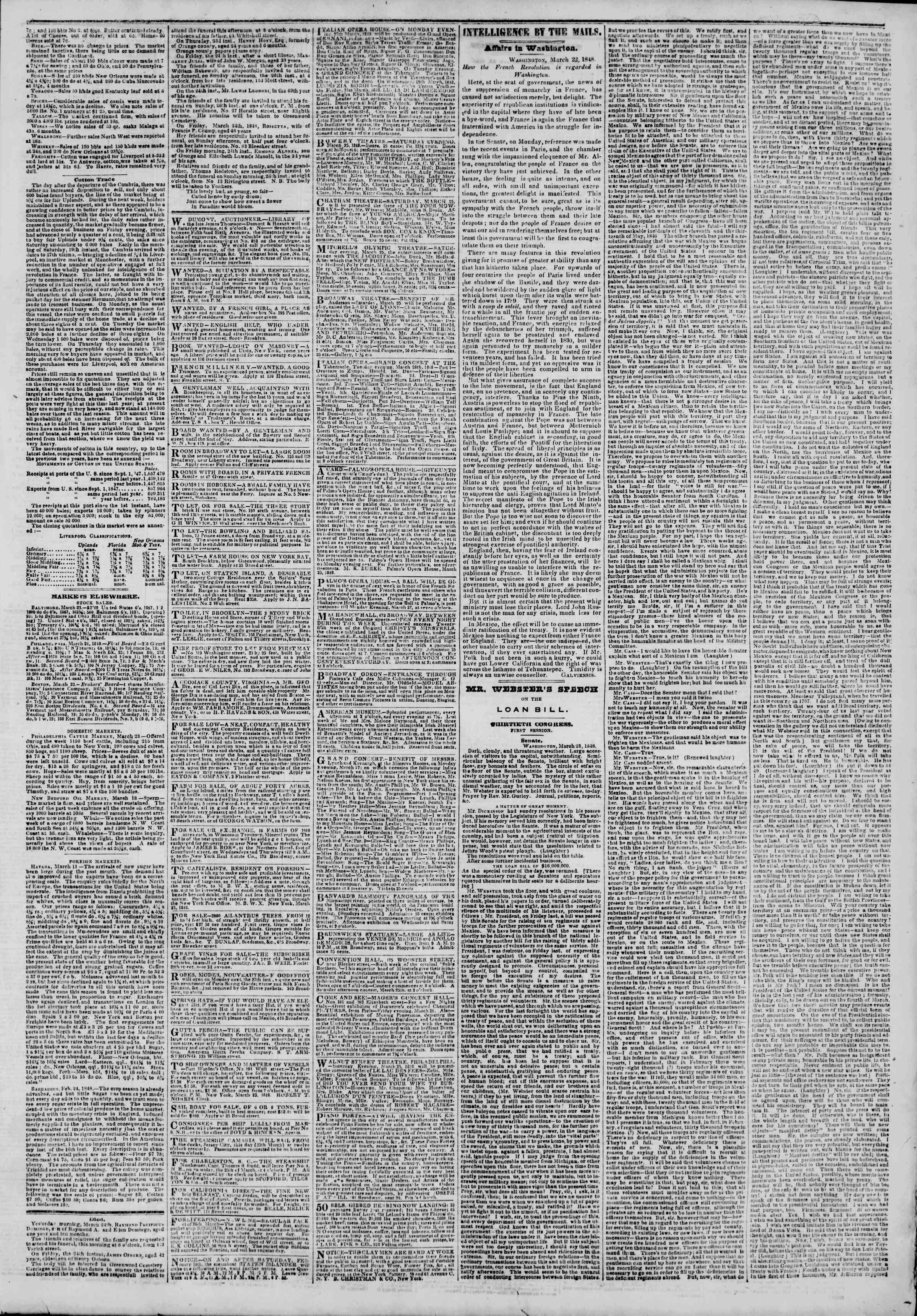 Newspaper of The New York Herald dated March 25, 1848 Page 3