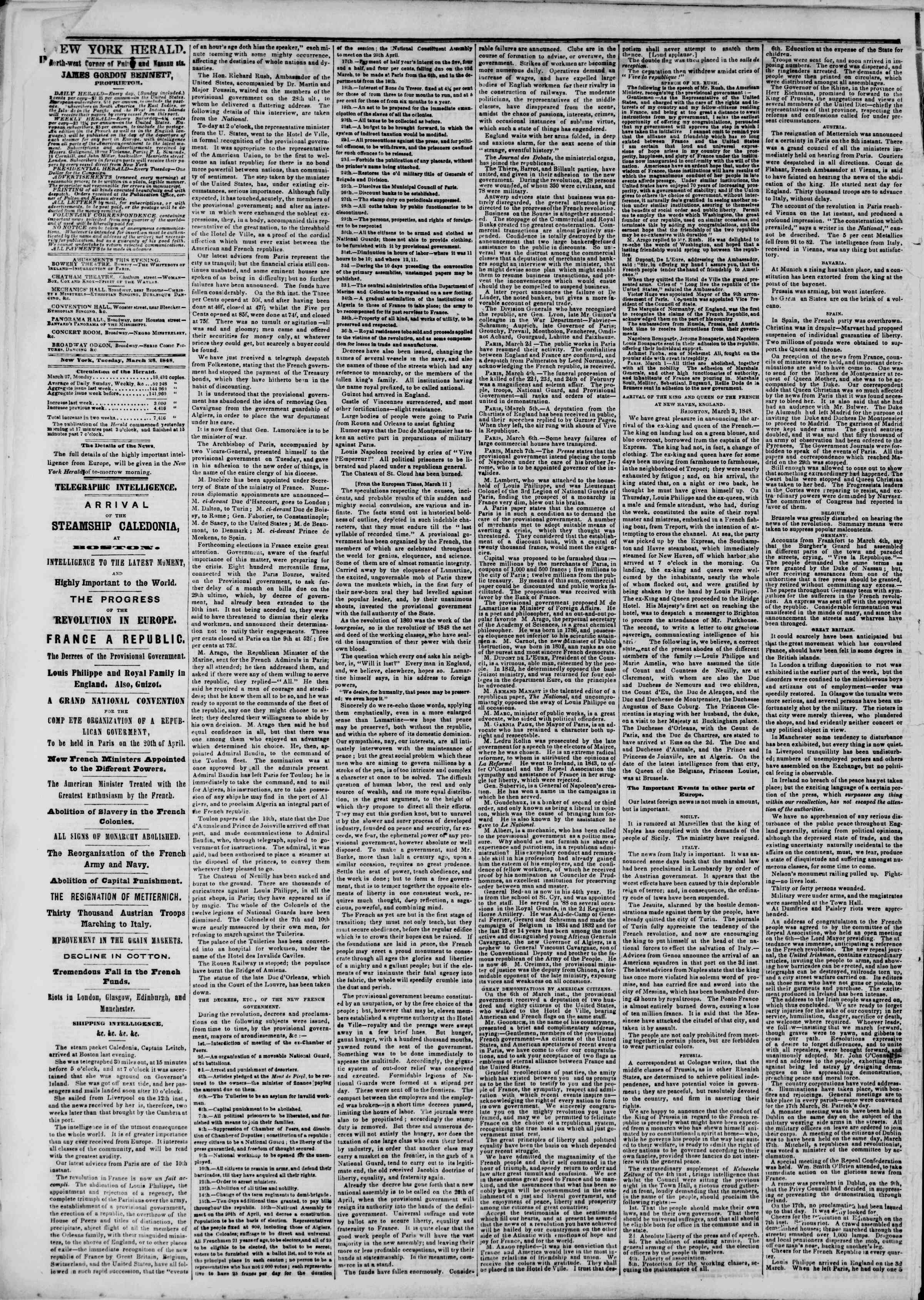 Newspaper of The New York Herald dated March 28, 1848 Page 2
