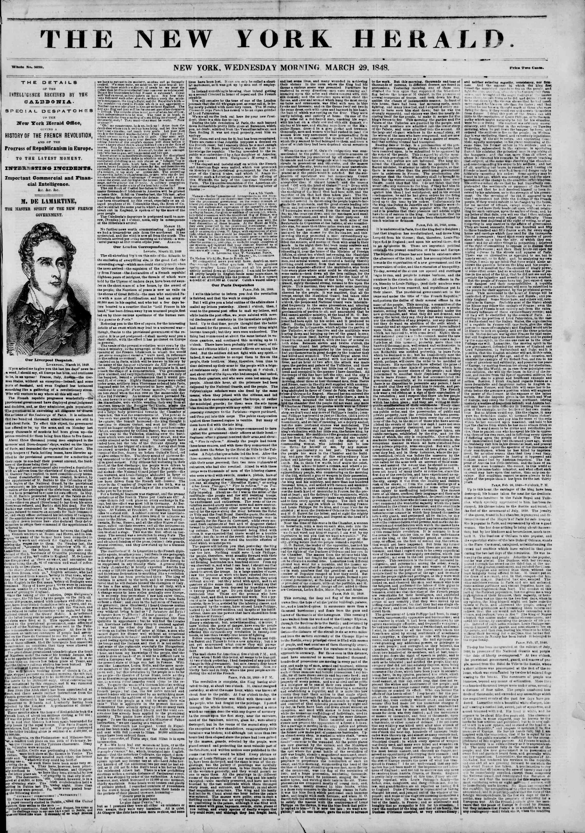 Newspaper of The New York Herald dated March 29, 1848 Page 1