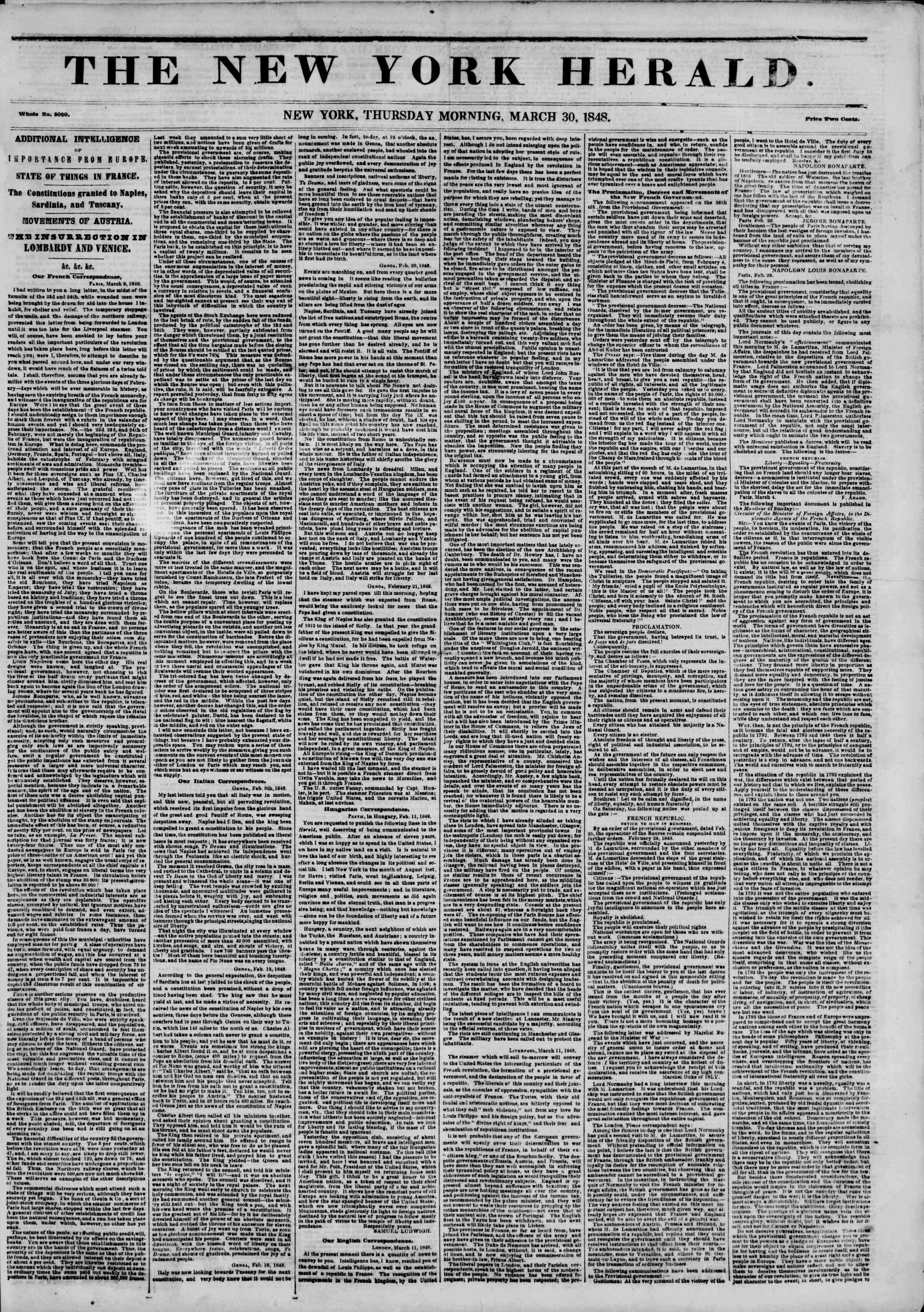 Newspaper of The New York Herald dated March 30, 1848 Page 1