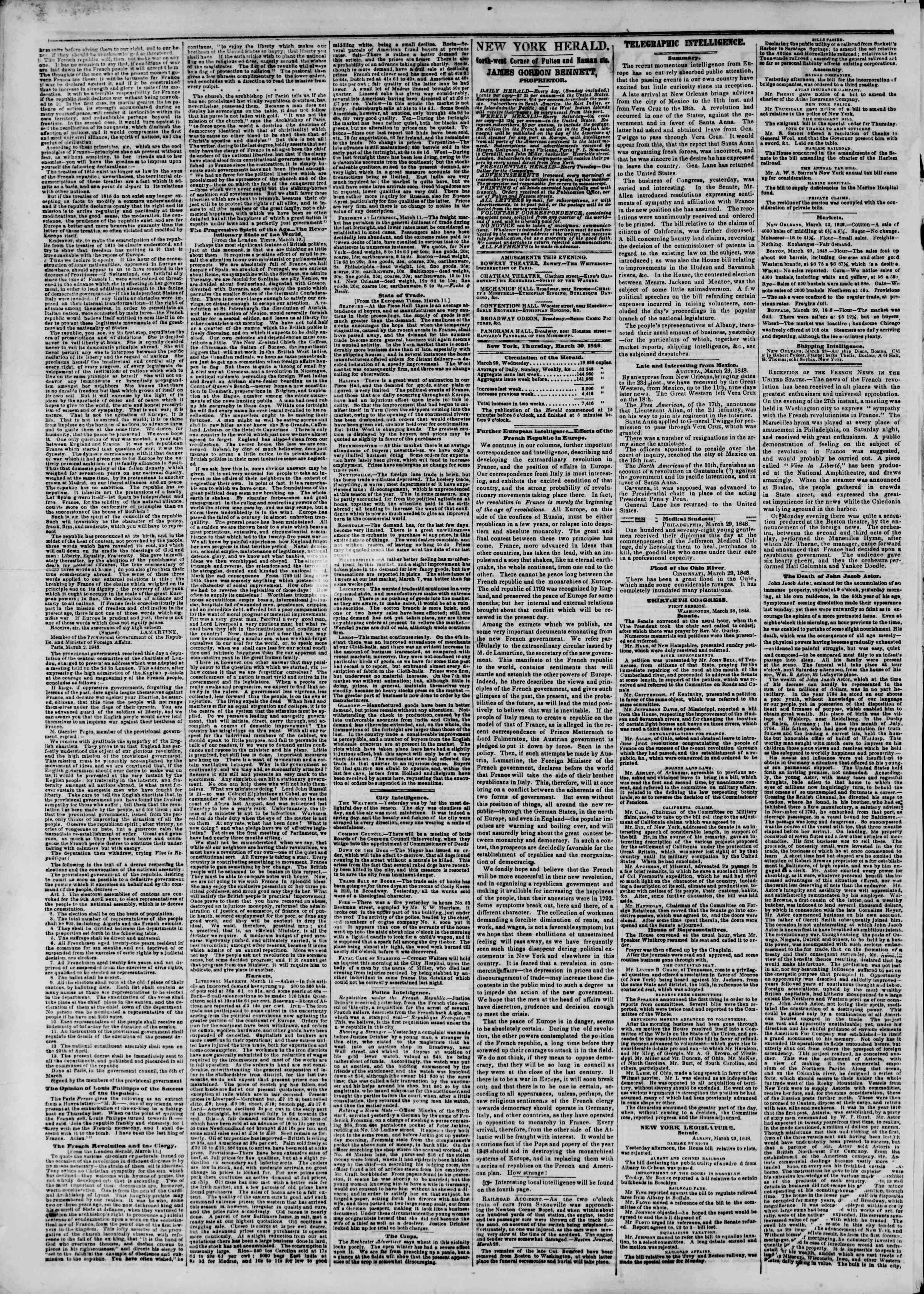 Newspaper of The New York Herald dated March 30, 1848 Page 2