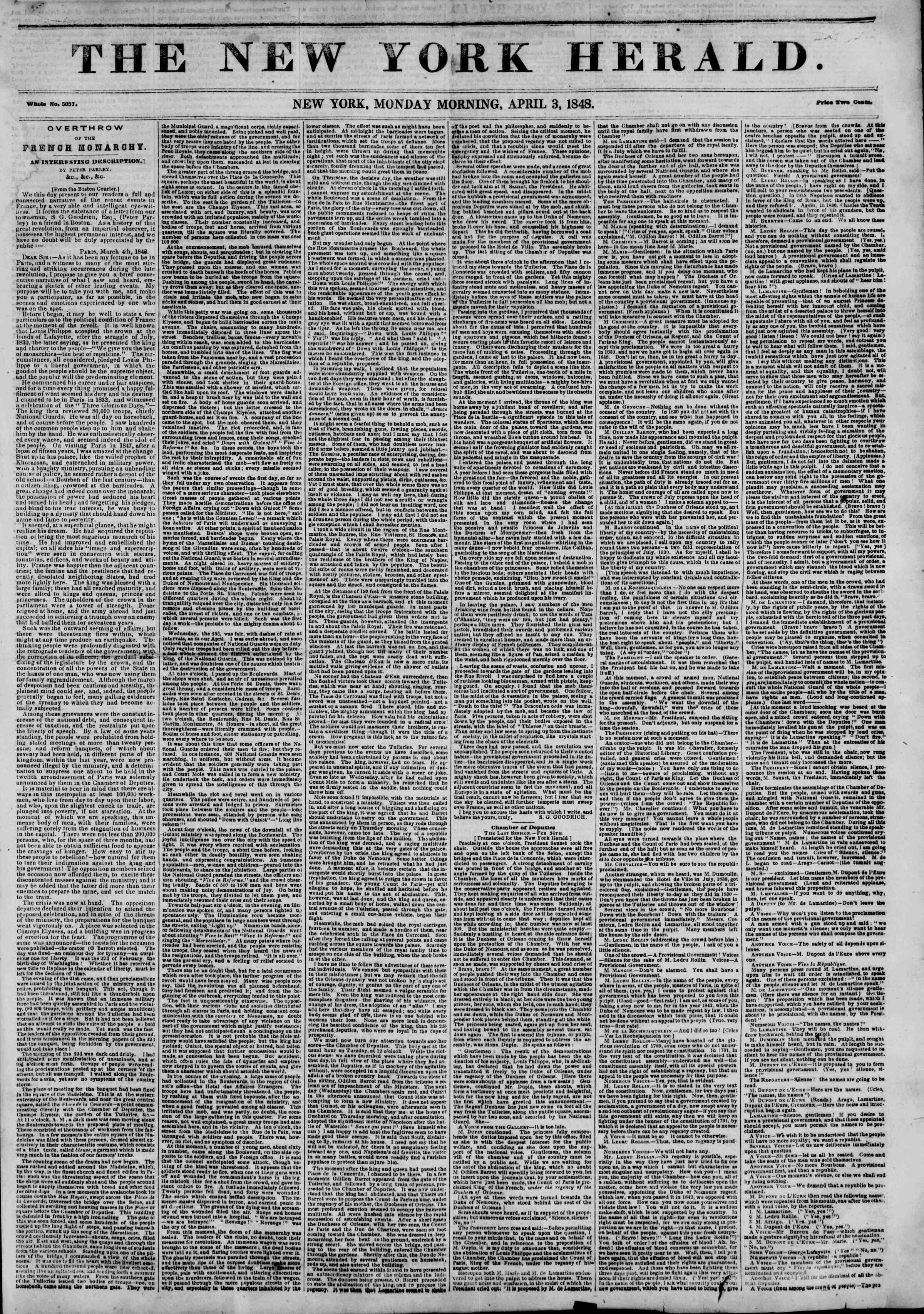 Newspaper of The New York Herald dated April 3, 1848 Page 1