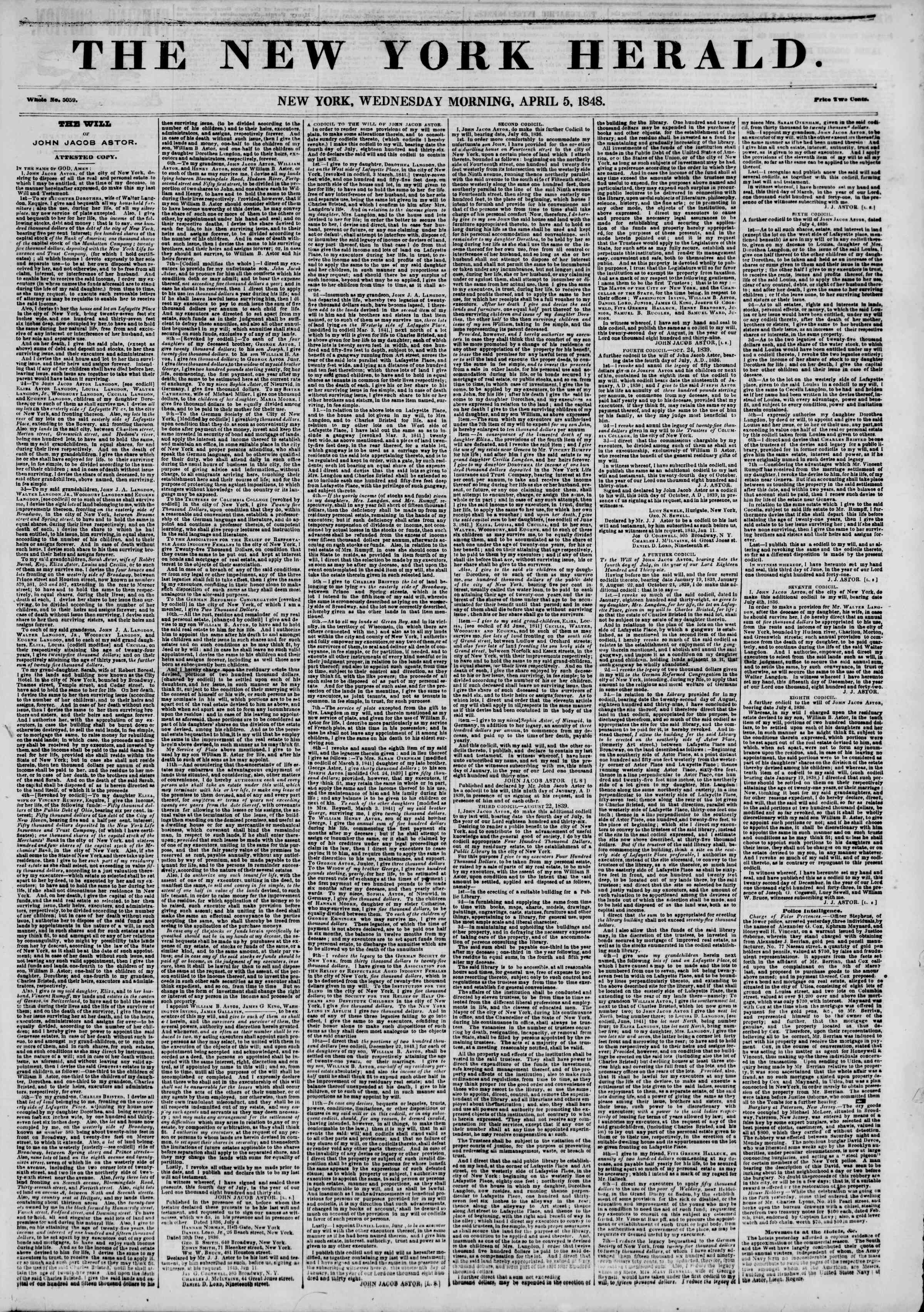 Newspaper of The New York Herald dated April 5, 1848 Page 1