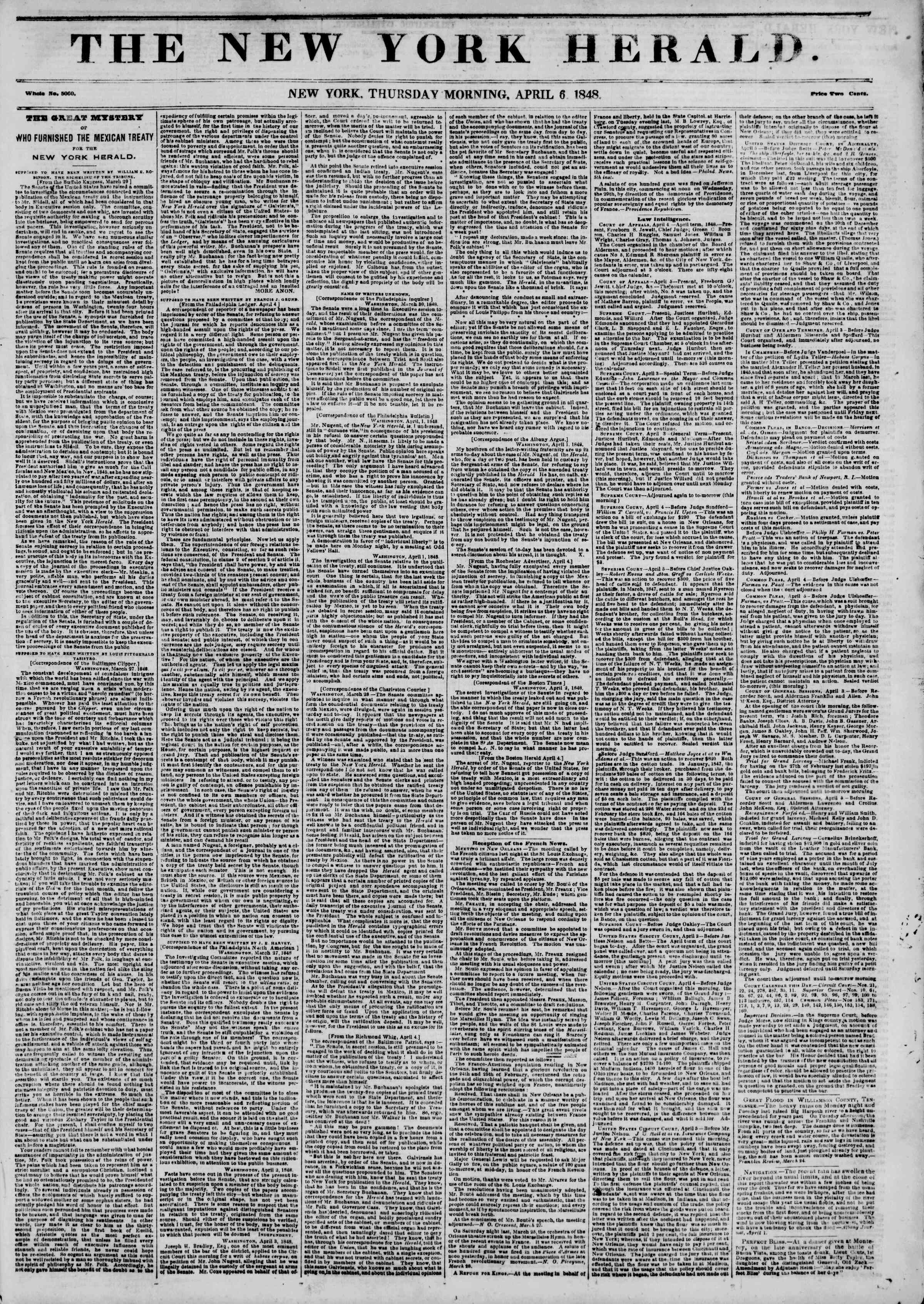 Newspaper of The New York Herald dated April 6, 1848 Page 1