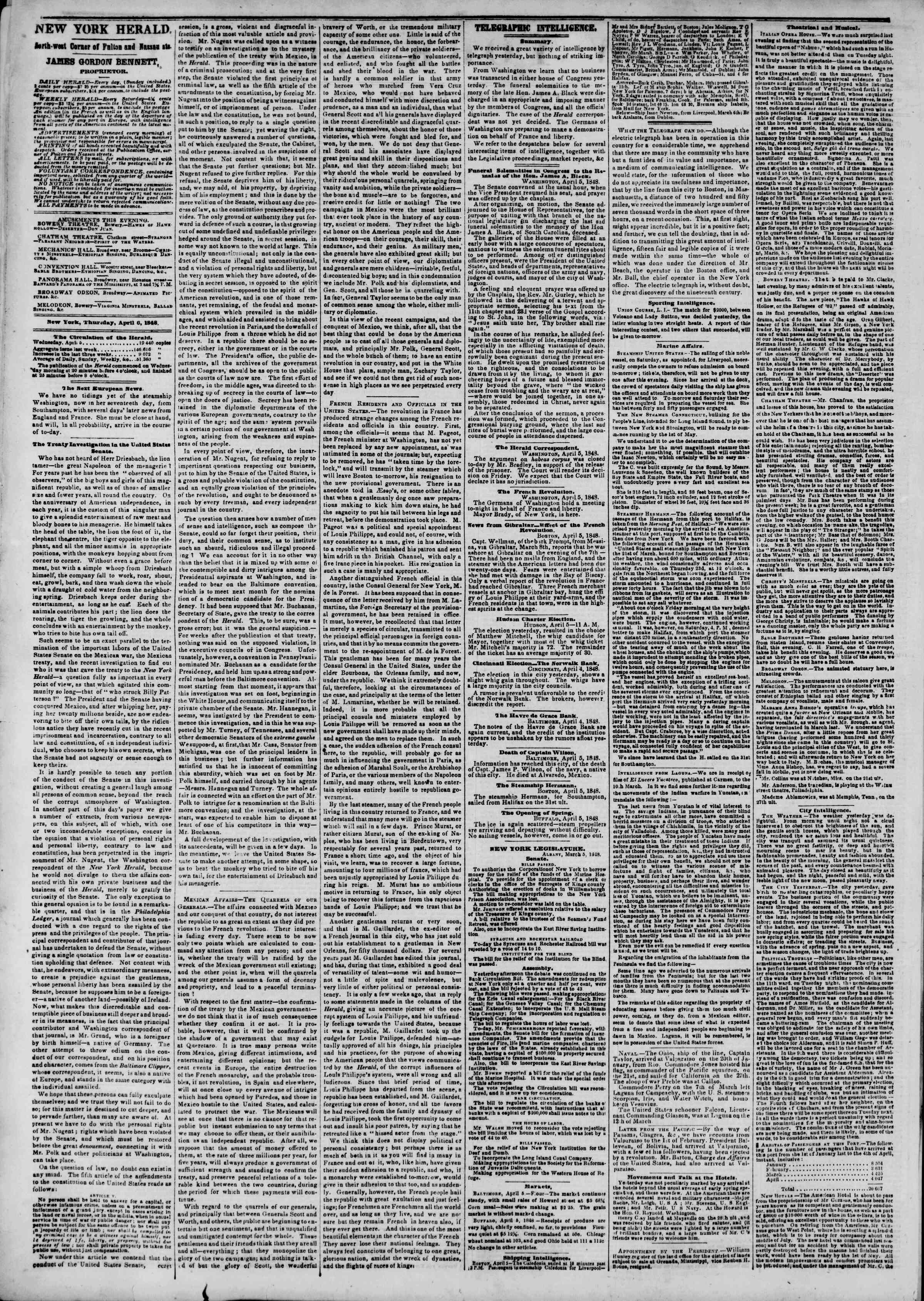 Newspaper of The New York Herald dated April 6, 1848 Page 2