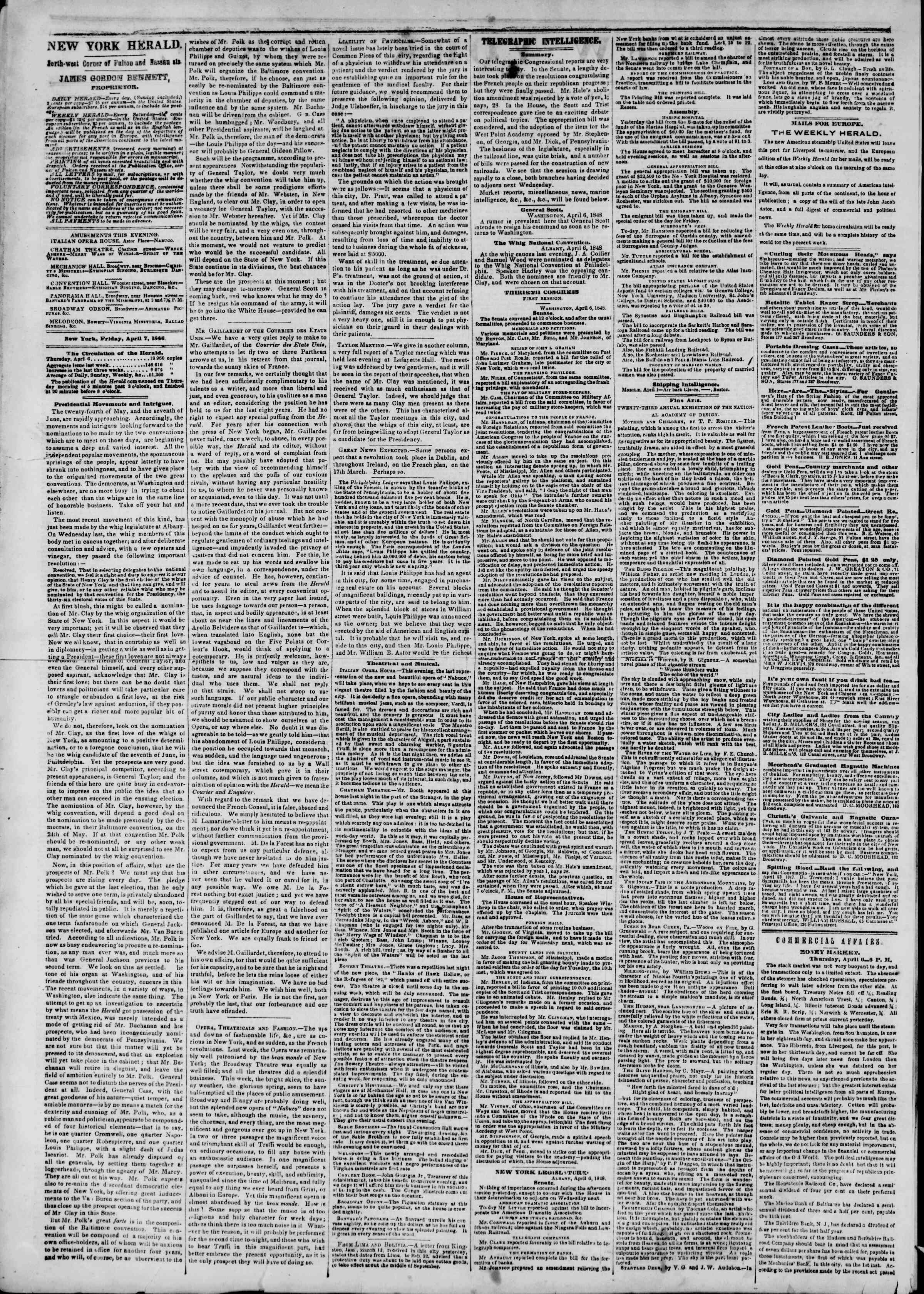 Newspaper of The New York Herald dated April 7, 1848 Page 2