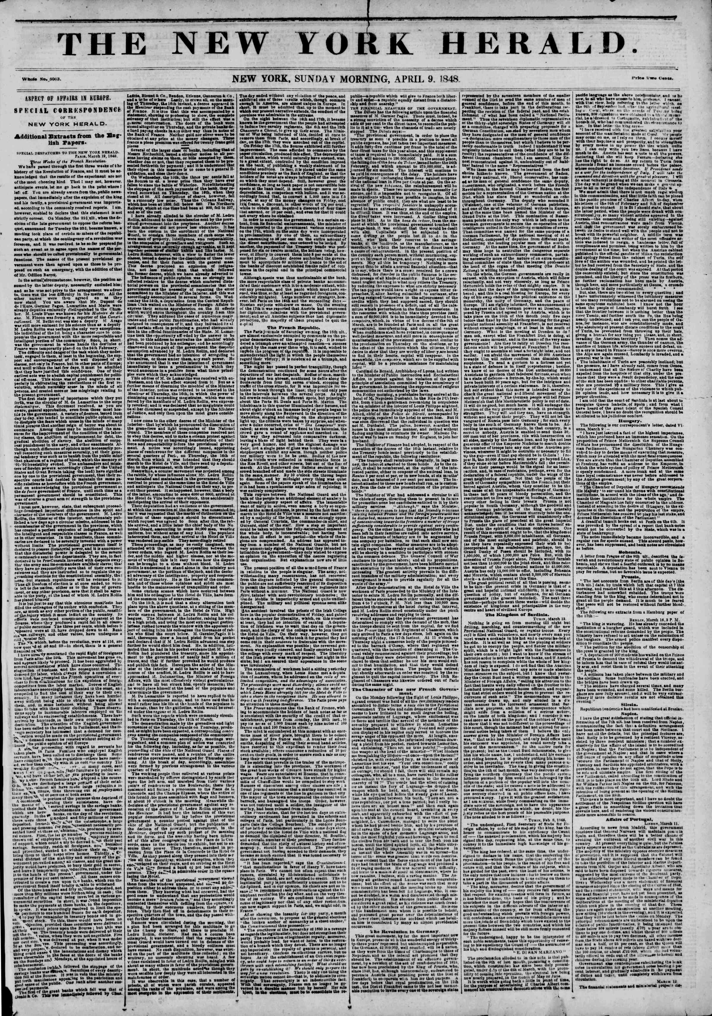Newspaper of The New York Herald dated April 9, 1848 Page 1