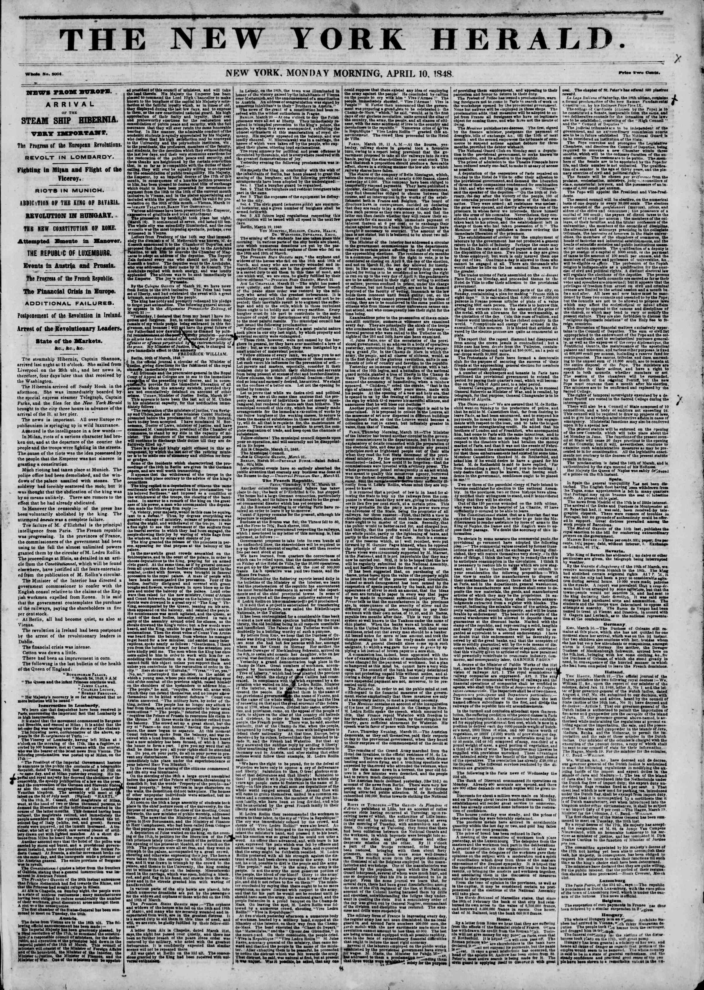 Newspaper of The New York Herald dated April 10, 1848 Page 1